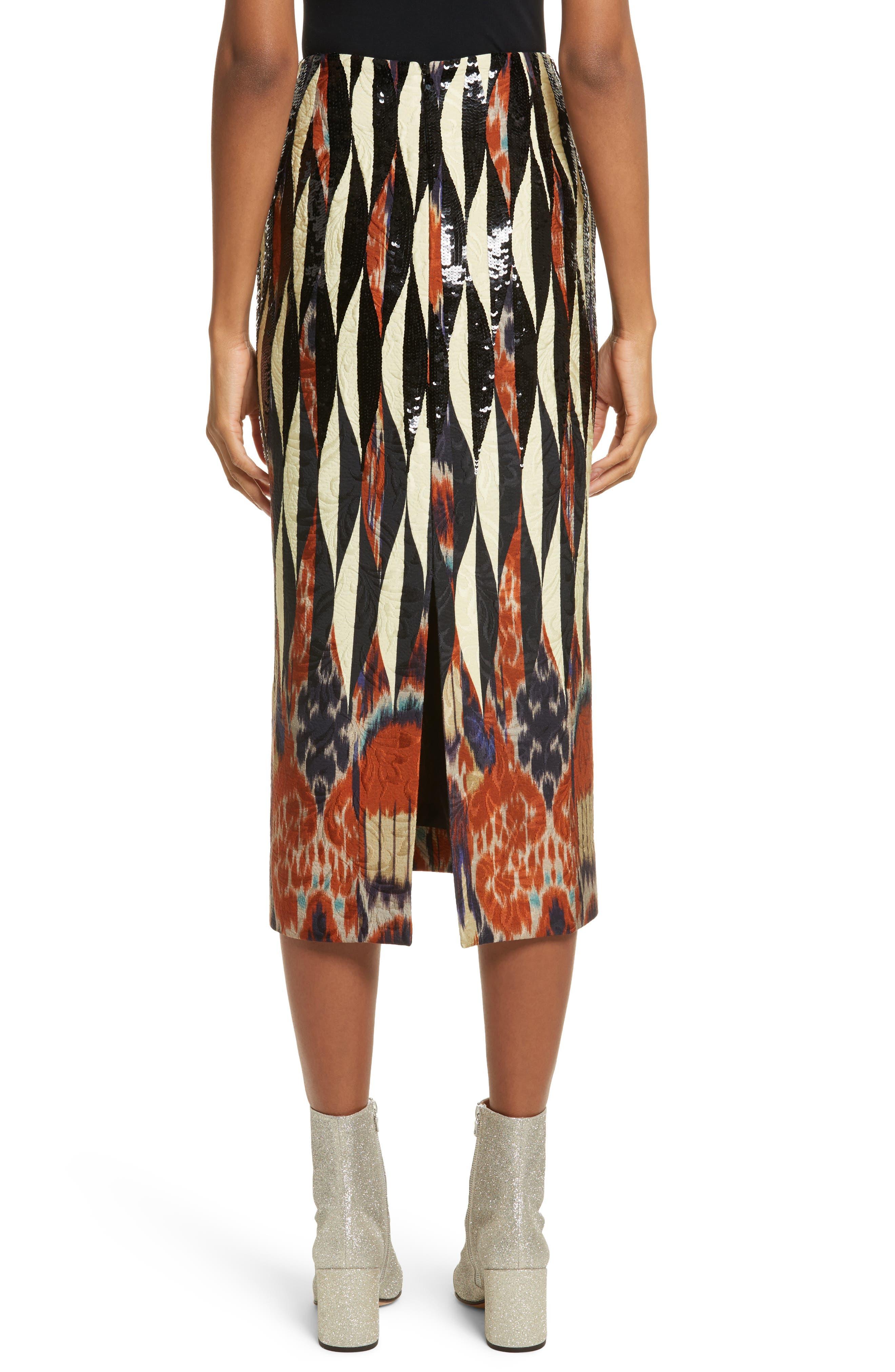 Embroidered Ikat Midi Skirt,                             Alternate thumbnail 2, color,                             800