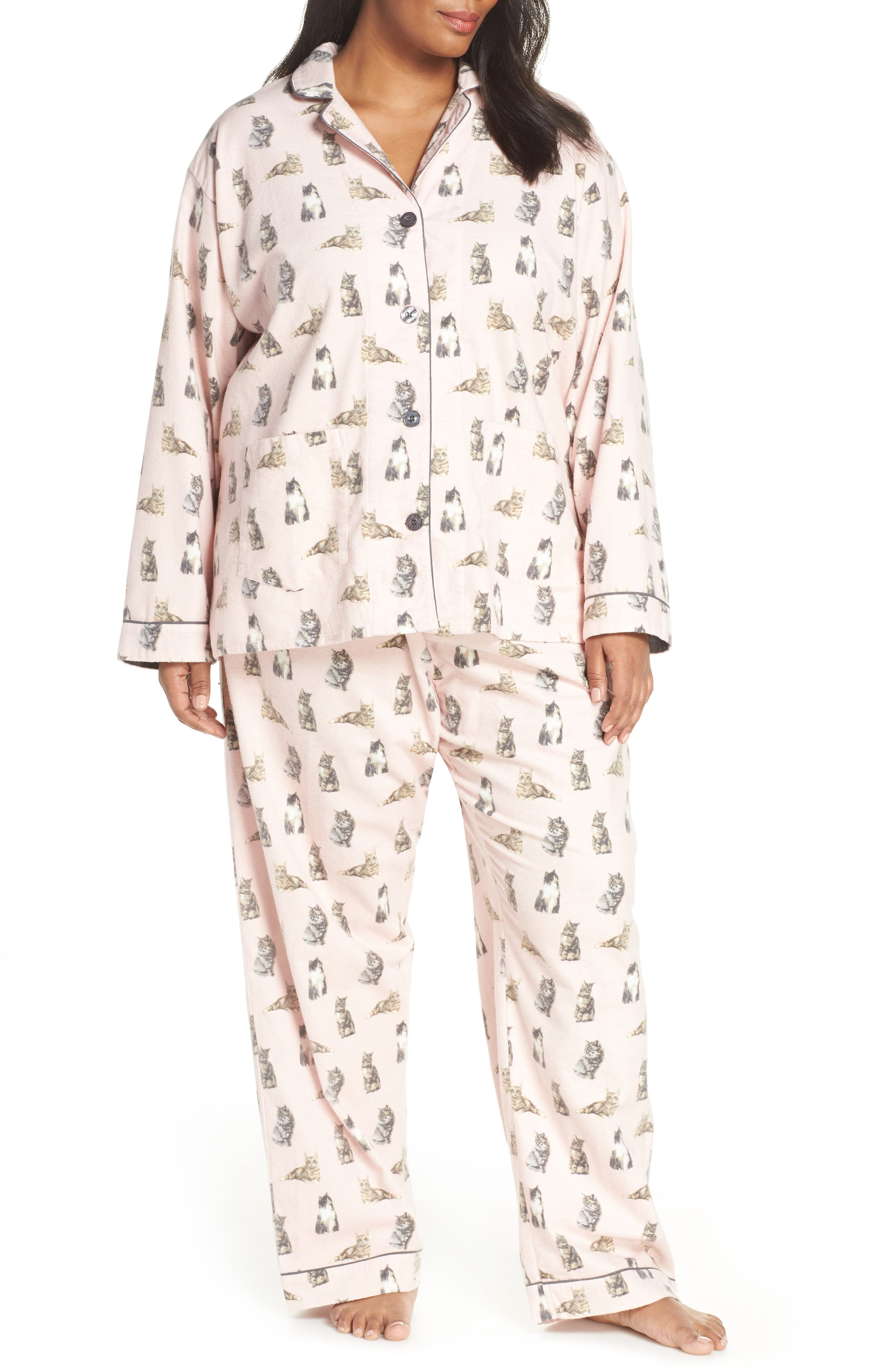 PJ SALVAGE,                             Print Flannel Pajamas,                             Main thumbnail 1, color,                             650