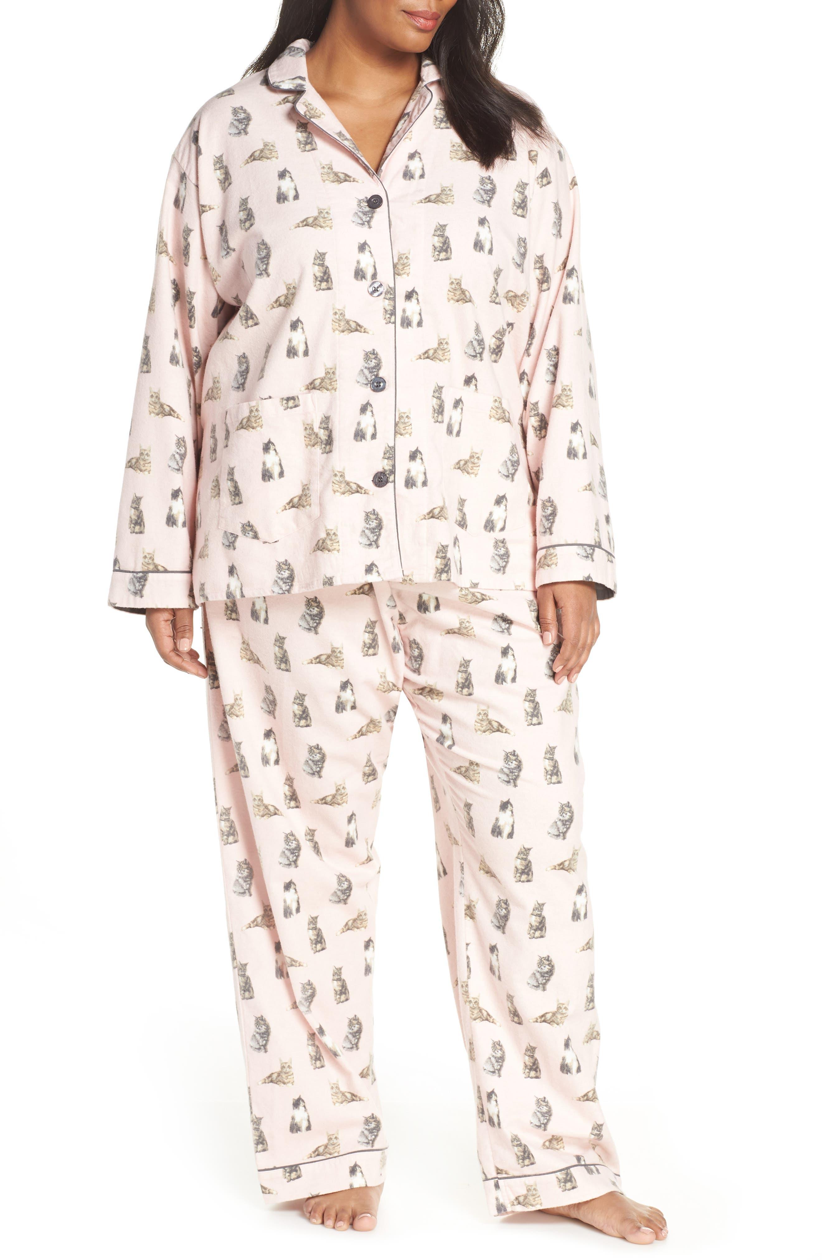 PJ SALVAGE Print Flannel Pajamas, Main, color, 650