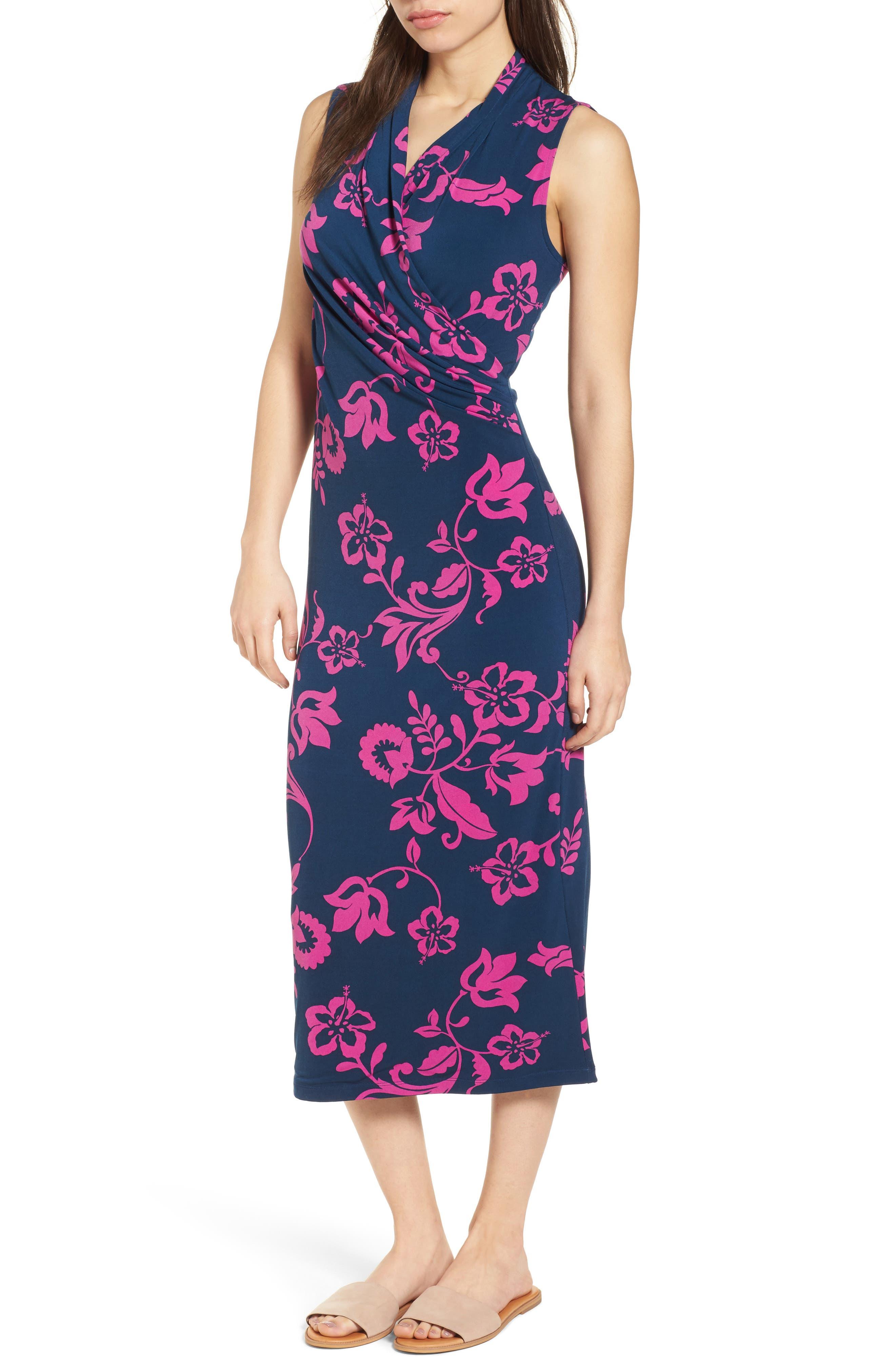 San Lucia Faux Wrap Midi Dress,                             Main thumbnail 1, color,                             OCEAN DEEP