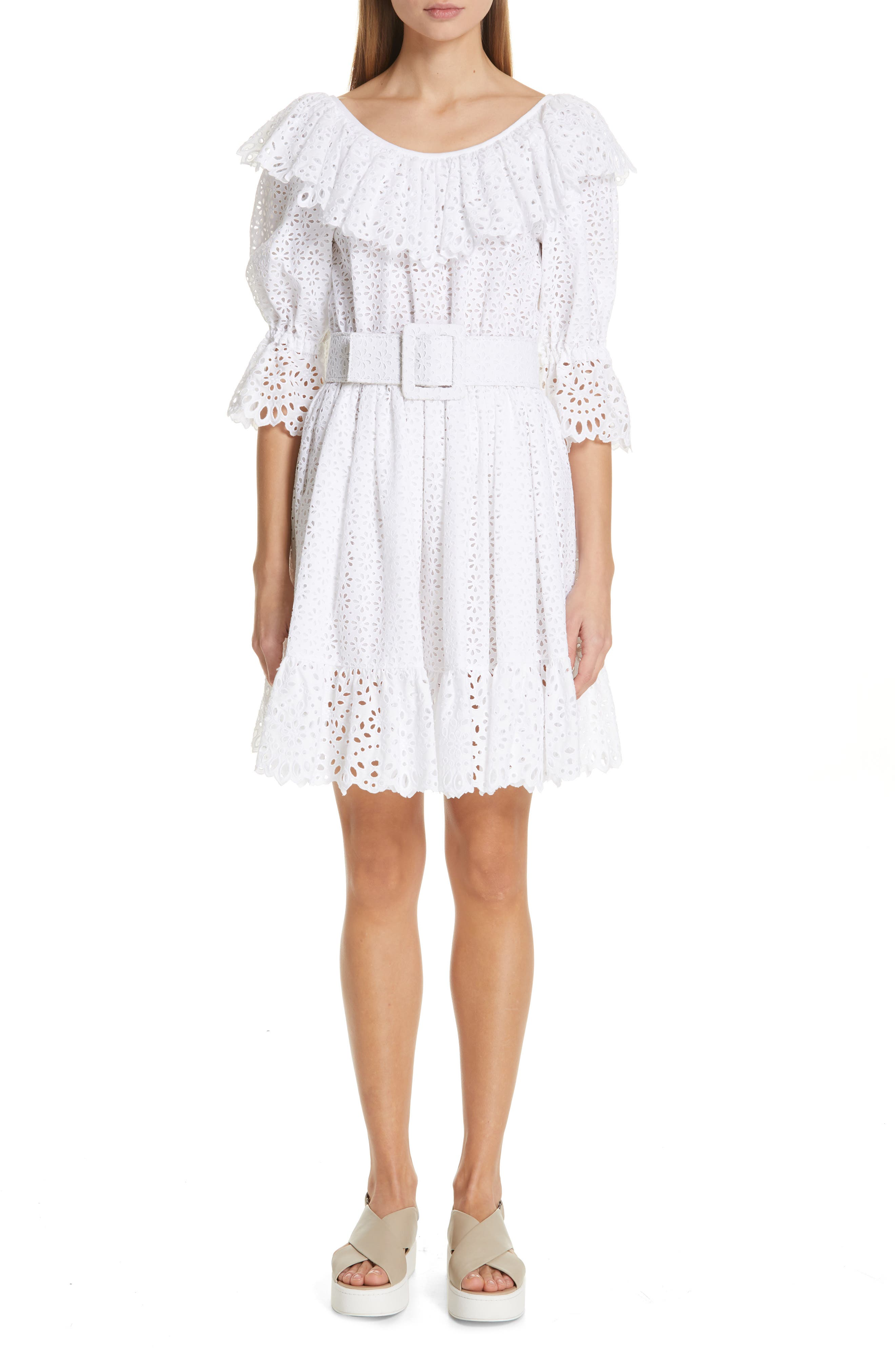Michael Kors Eyelet Dirndl Dress, White