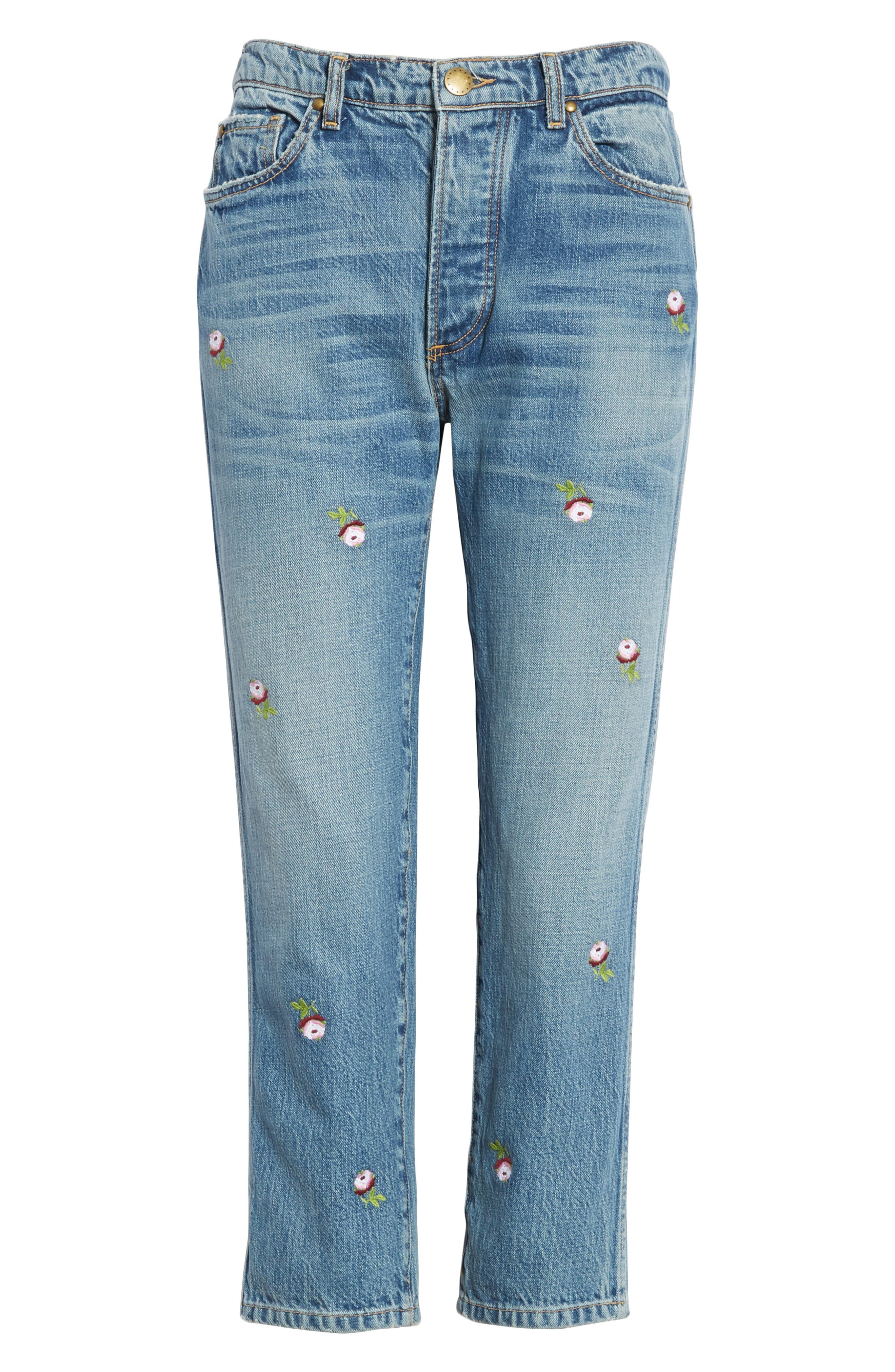 The Rigid Fellow Floral Embroidered Jeans,                             Alternate thumbnail 6, color,                             PRAIRIE WASH W/ ROSETTE
