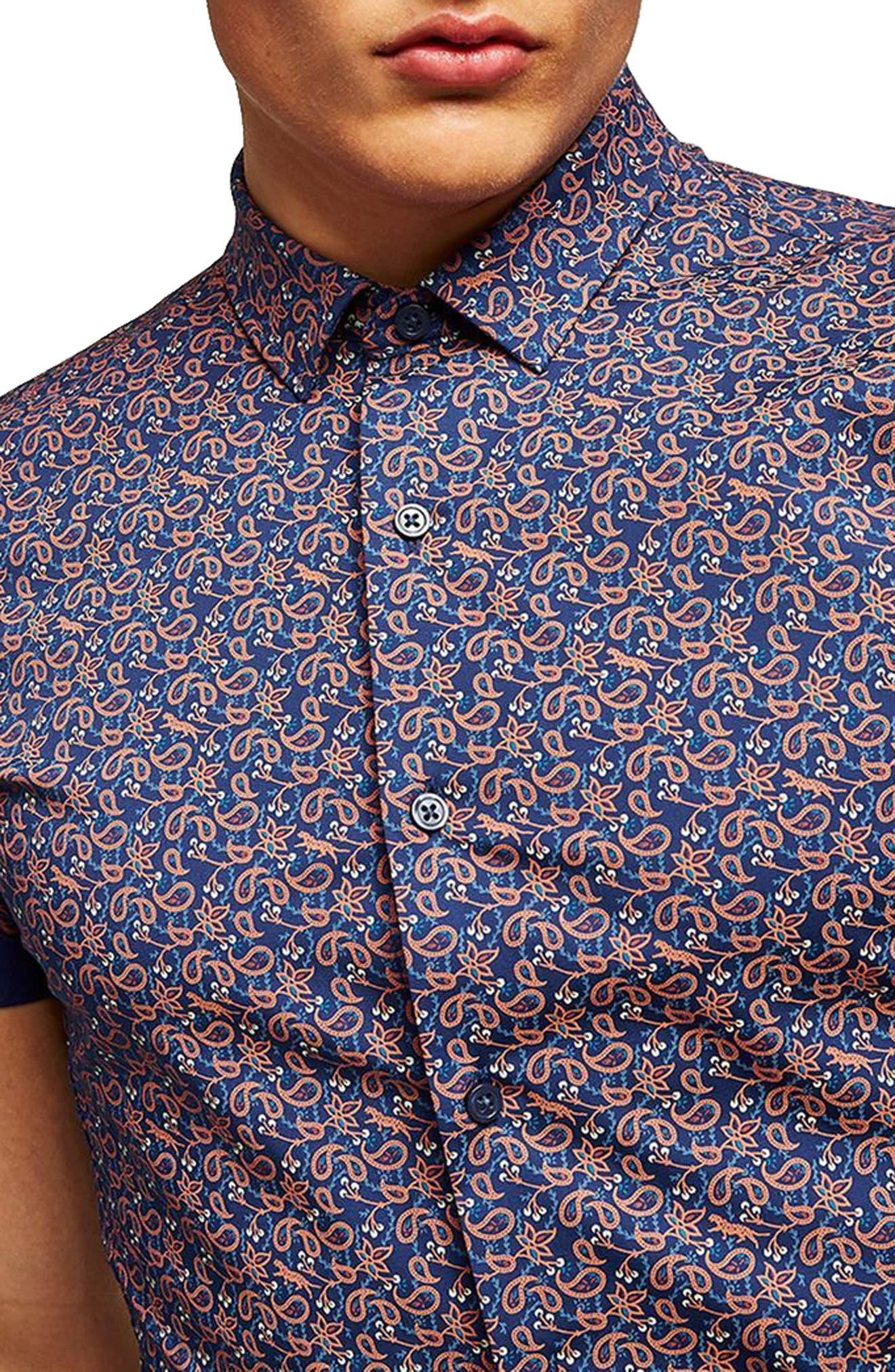 TOPMAN,                             Muscle Fit Eclectic Paisley Print Shirt,                             Alternate thumbnail 3, color,                             400