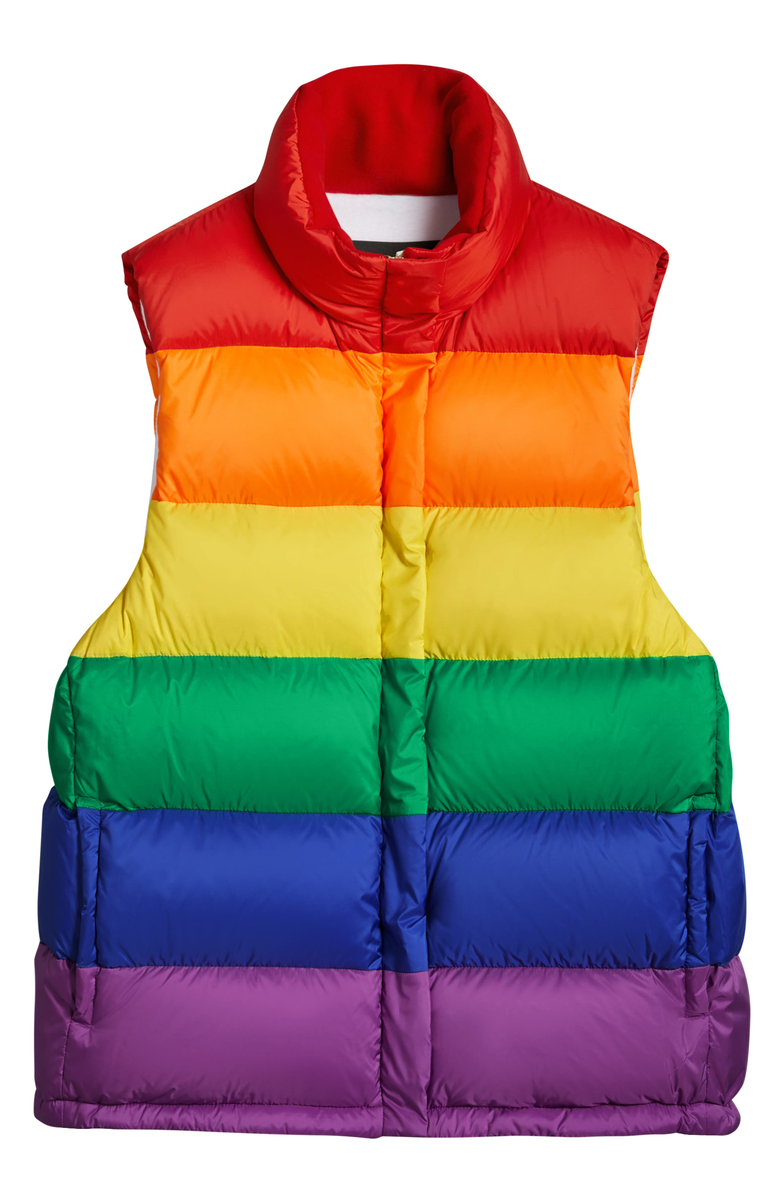 Rainbow Down Puffer Vest,                             Alternate thumbnail 4, color,                             RAINBOW