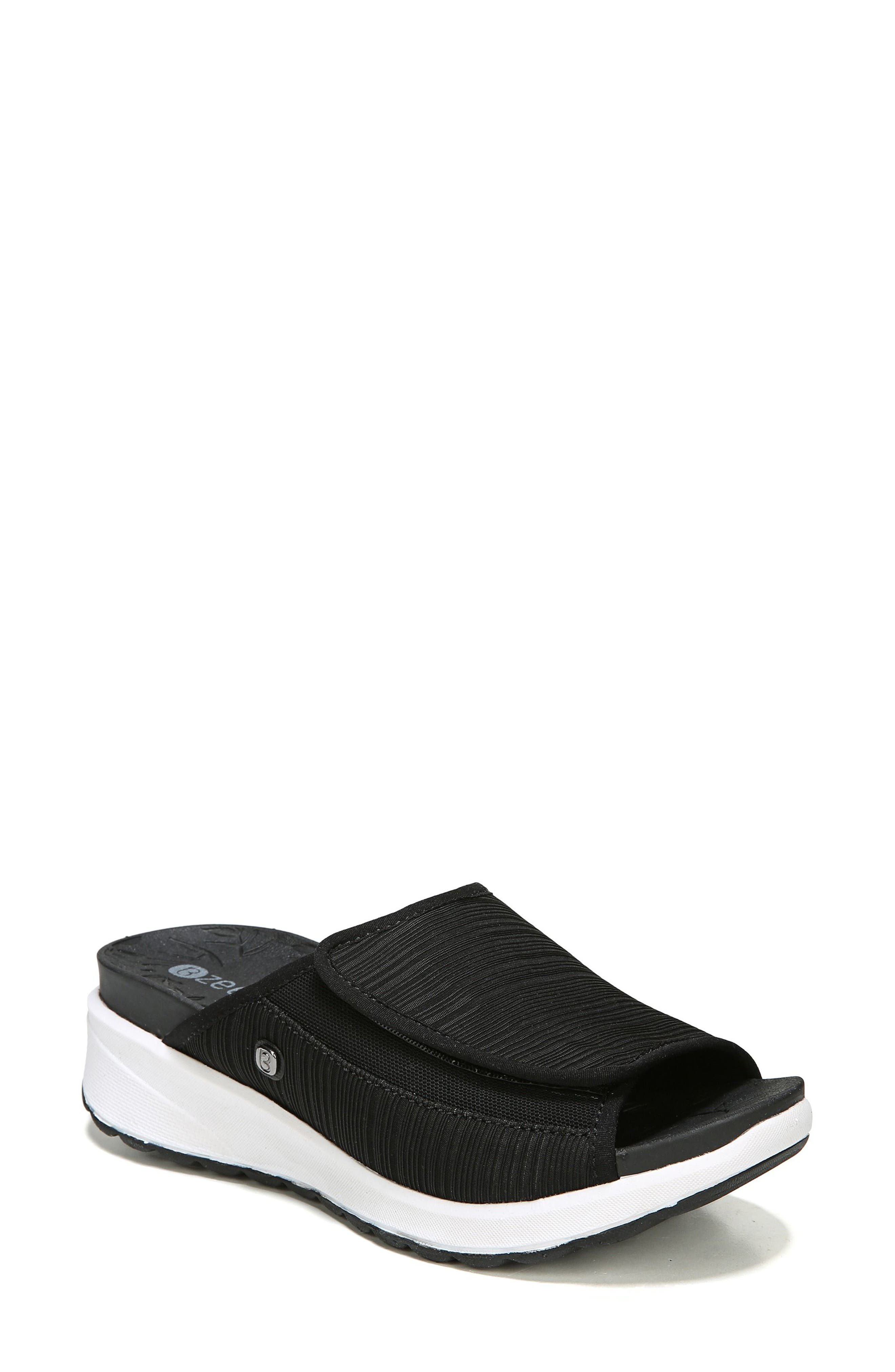 Galaxy Slide Sandal,                             Main thumbnail 1, color,                             BLACK FABRIC