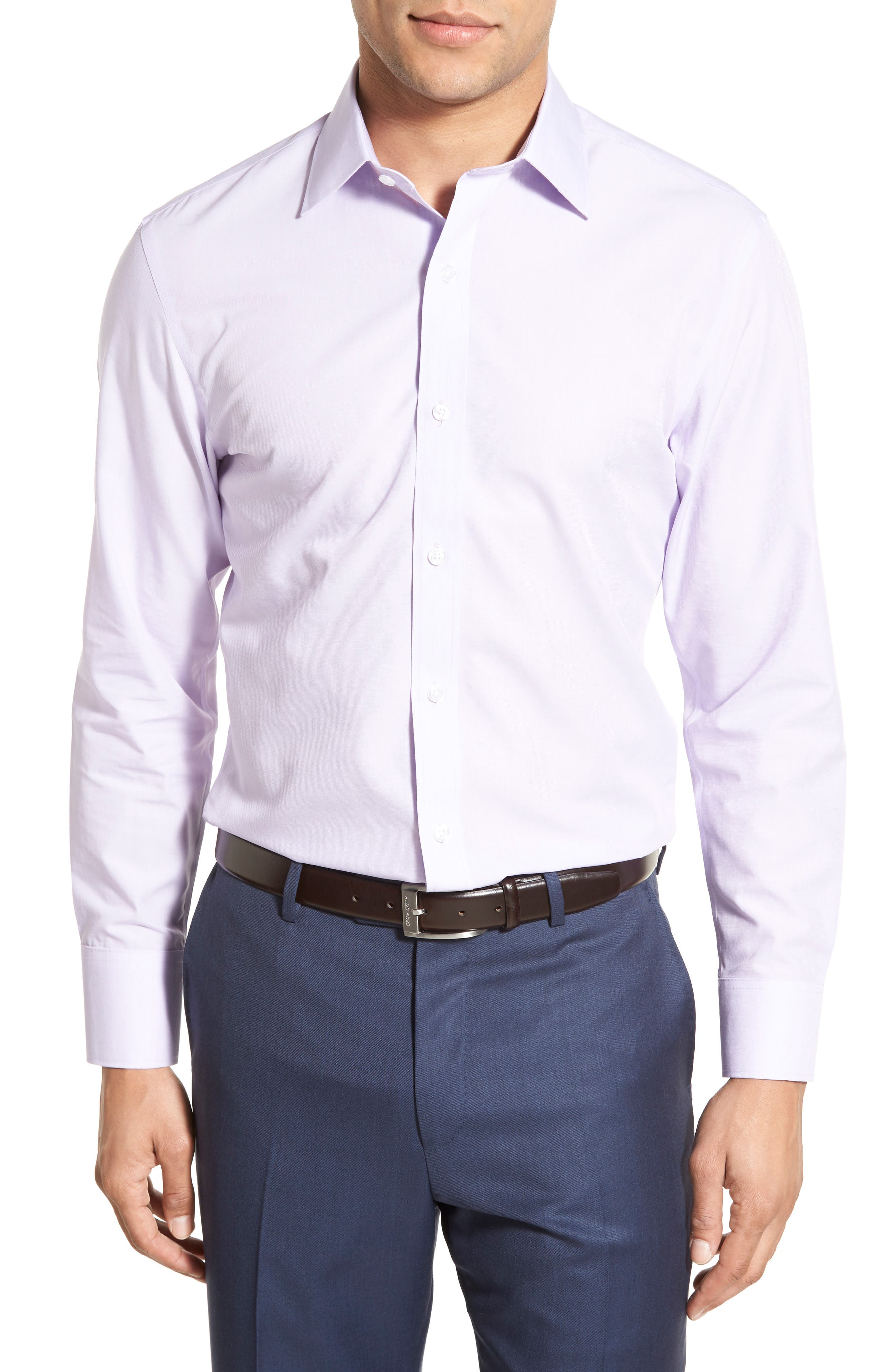 Slim Fit Wrinkle Free Solid Dress Shirt,                             Alternate thumbnail 2, color,                             PALE LILAC
