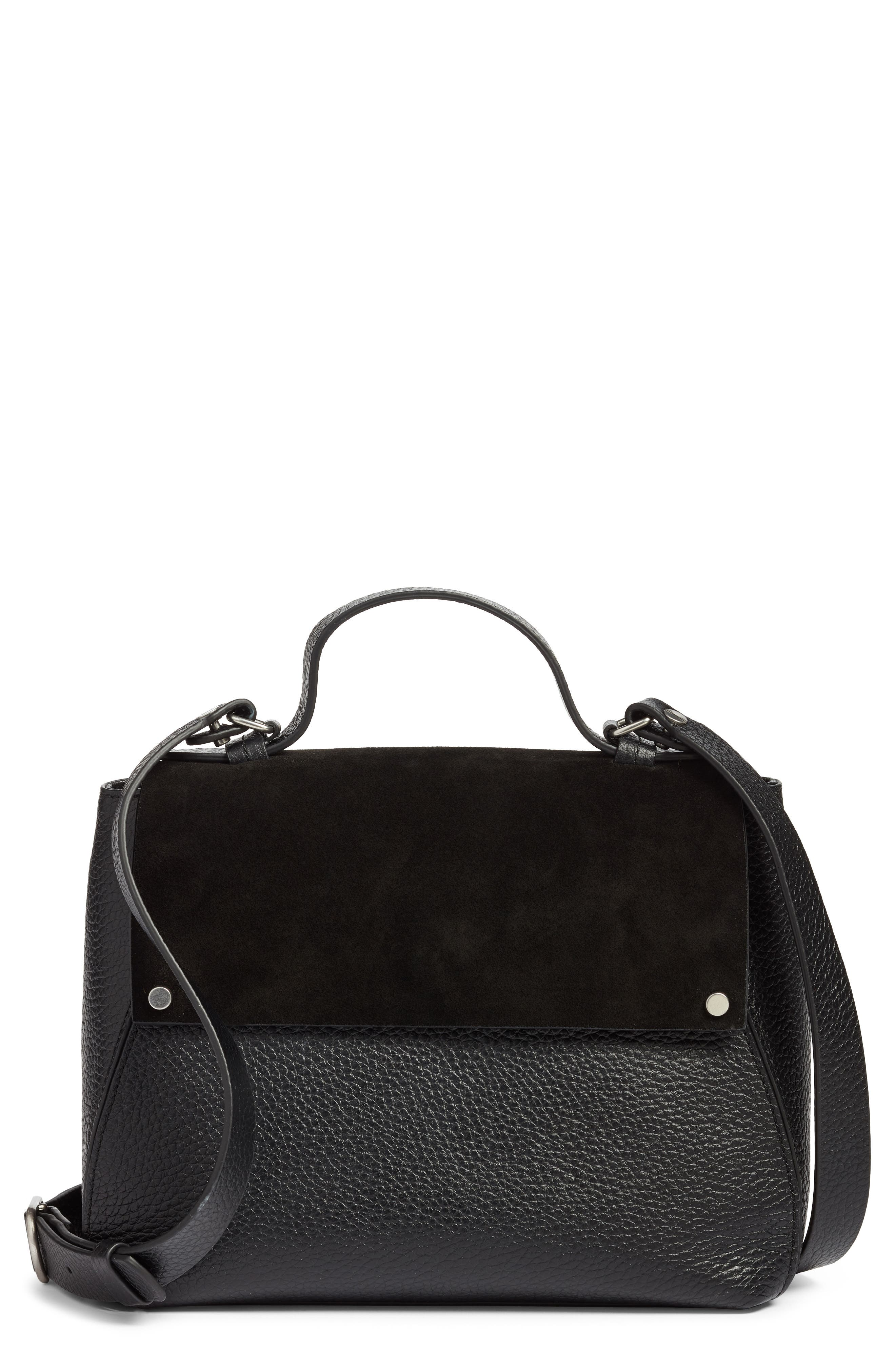 Skyler Leather Top Handle Bag,                         Main,                         color, BLACK