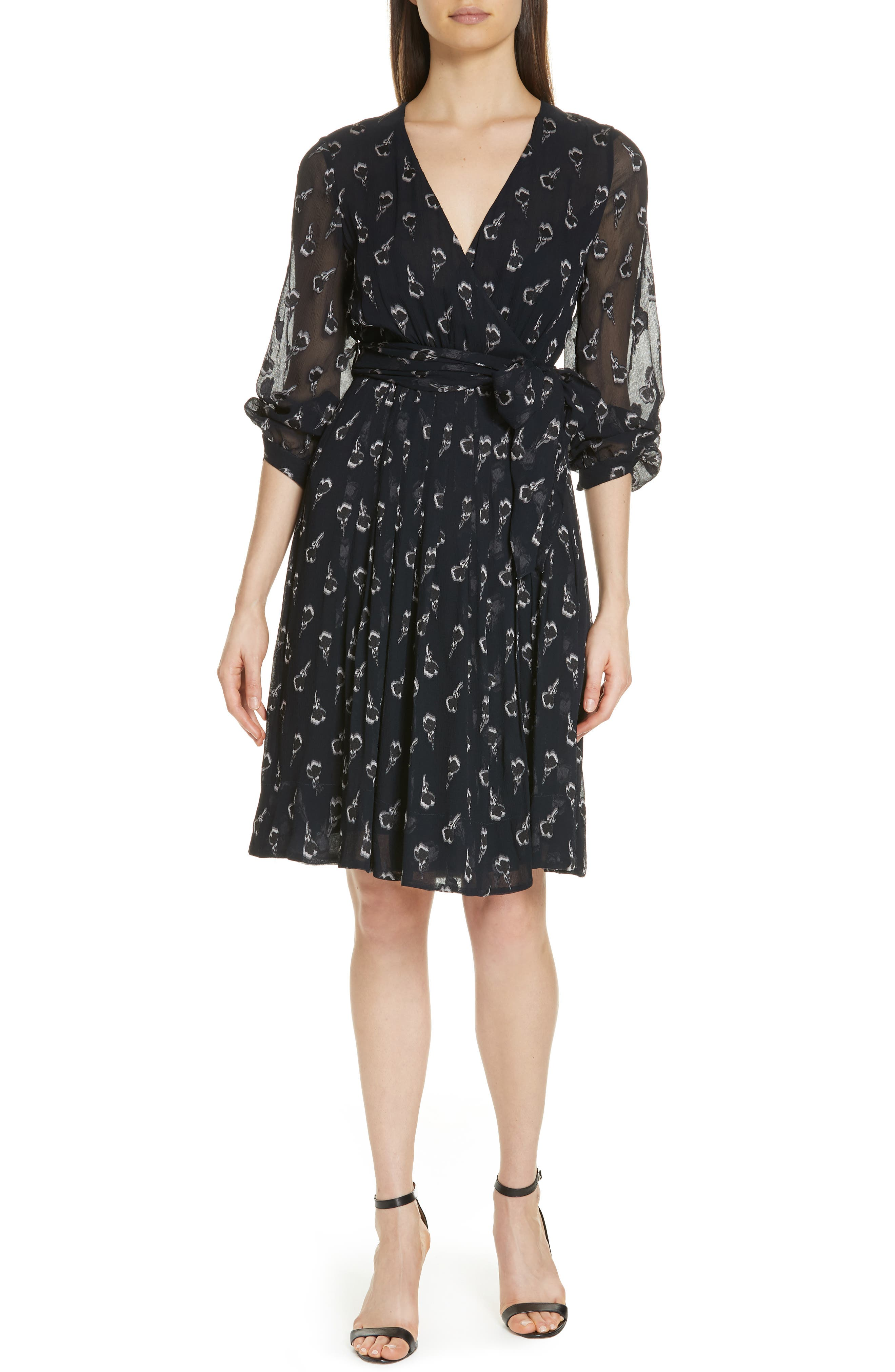 Memory Floral Silk Chiffon Dress,                             Main thumbnail 1, color,                             NOIR