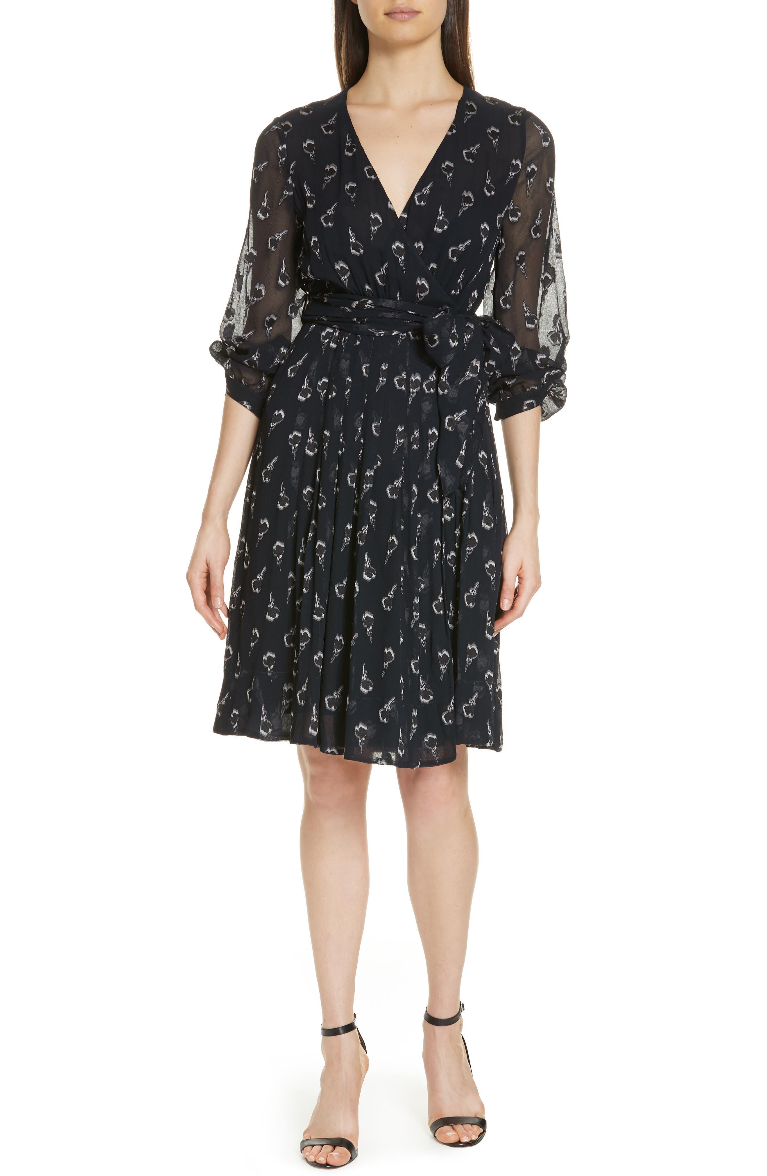 Memory Floral Silk Chiffon Dress,                         Main,                         color, NOIR