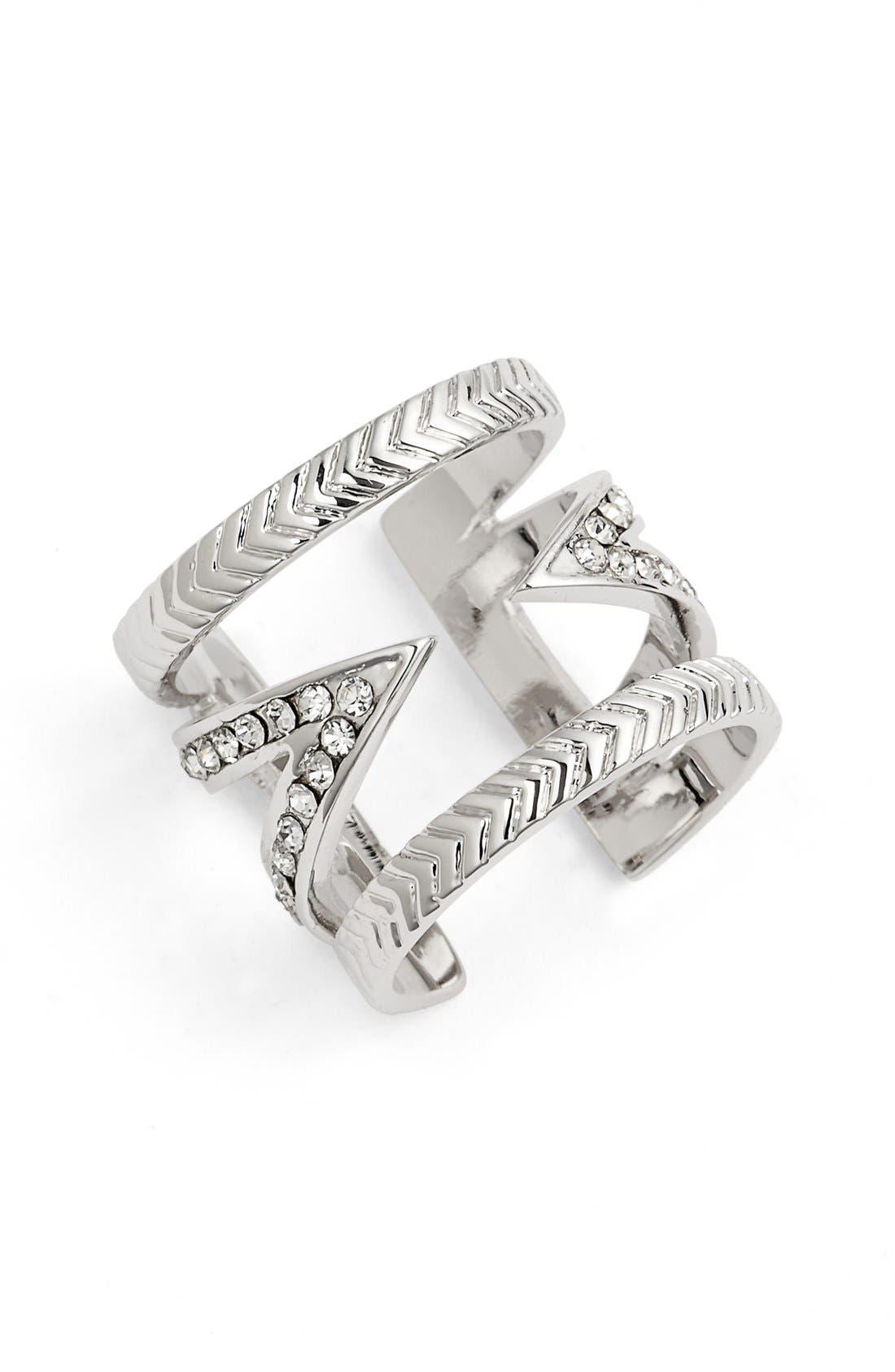 Crystal V Ring,                             Main thumbnail 2, color,