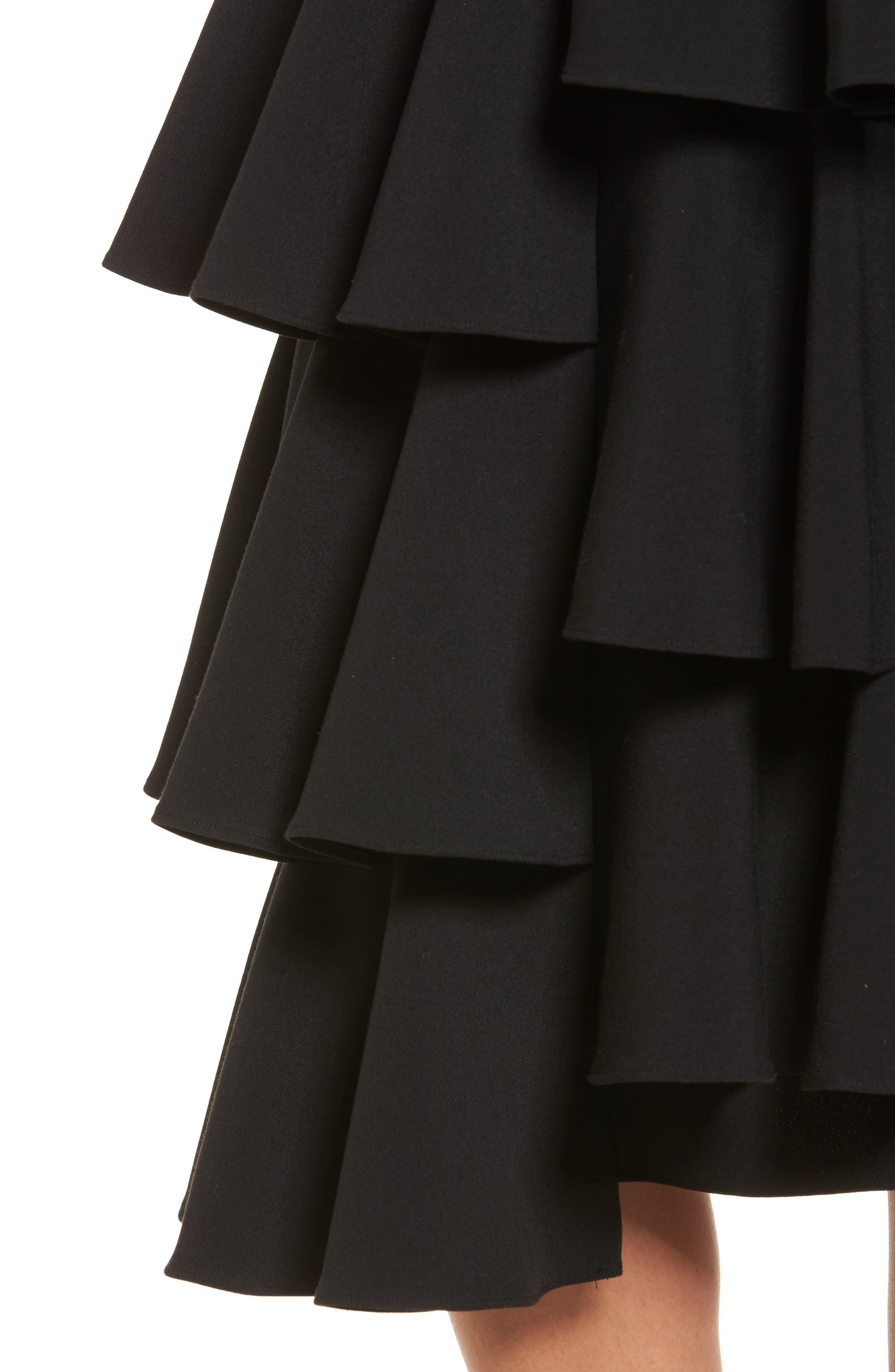 Tiered Ruffle Midi Skirt,                             Alternate thumbnail 4, color,                             001