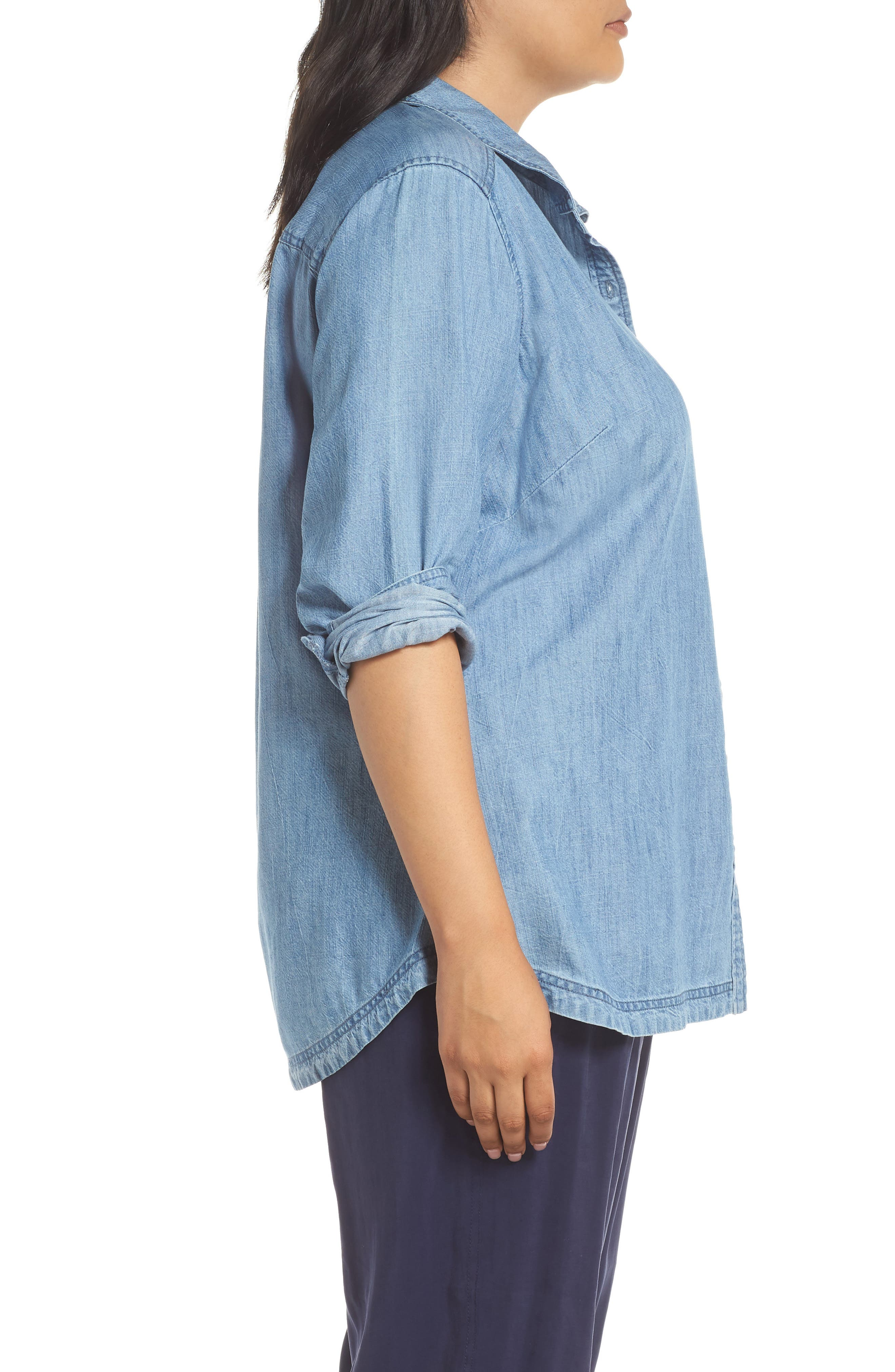 Button Front Chambray Shirt,                             Alternate thumbnail 3, color,                             421