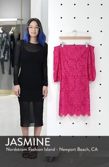 Azul Scallop Hem Off the Shoulder Lace Dress, sales video thumbnail