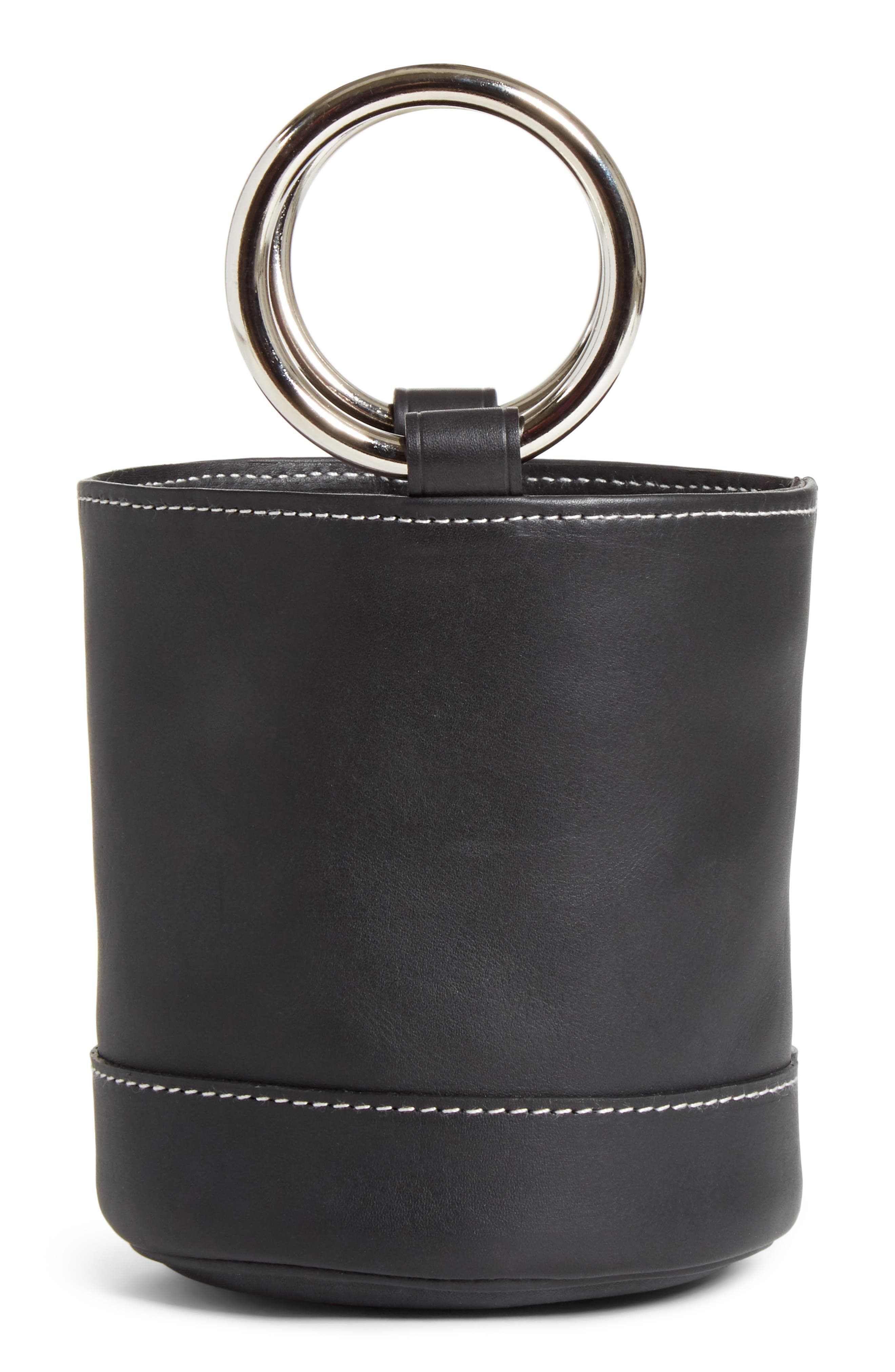 Bonsai 15 Calfskin Leather Bucket Bag,                             Main thumbnail 1, color,                             BLACK WITH WHITE STITCHING