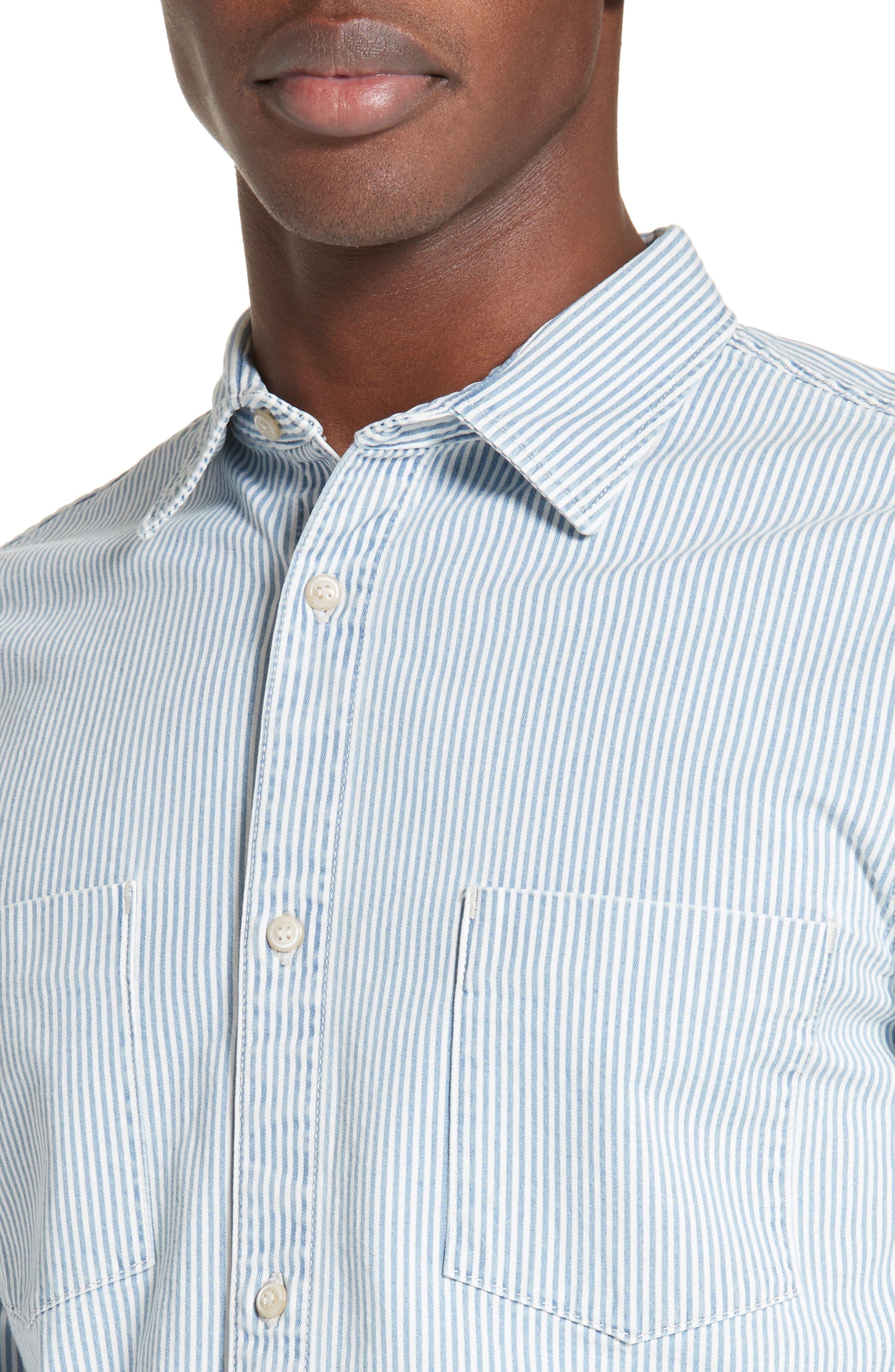 Riga Microstripe Denim Sport Shirt,                         Main,                         color, 461