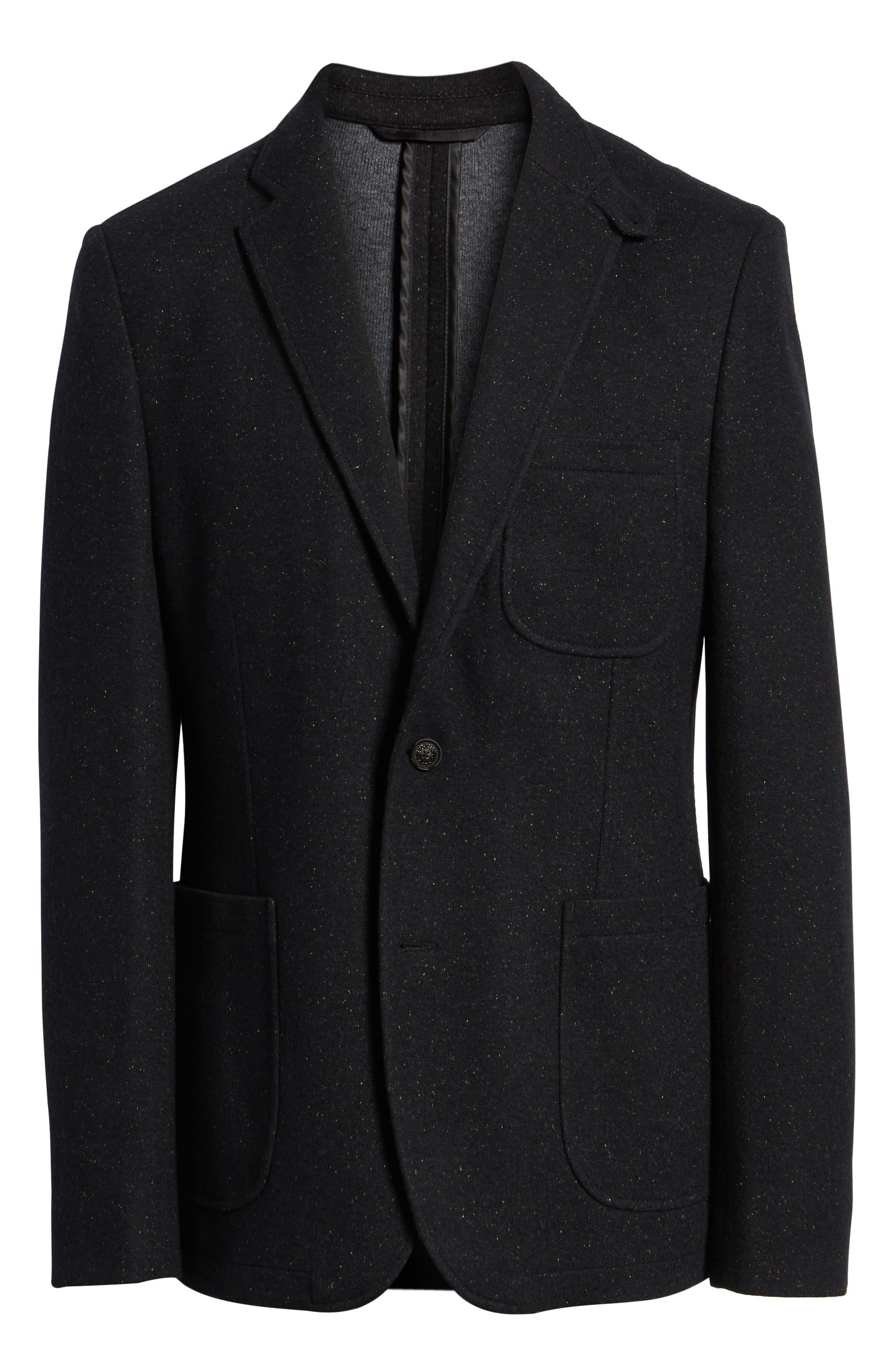 White Solid Cotton Blend Sport Coat,                             Alternate thumbnail 6, color,                             BLACK