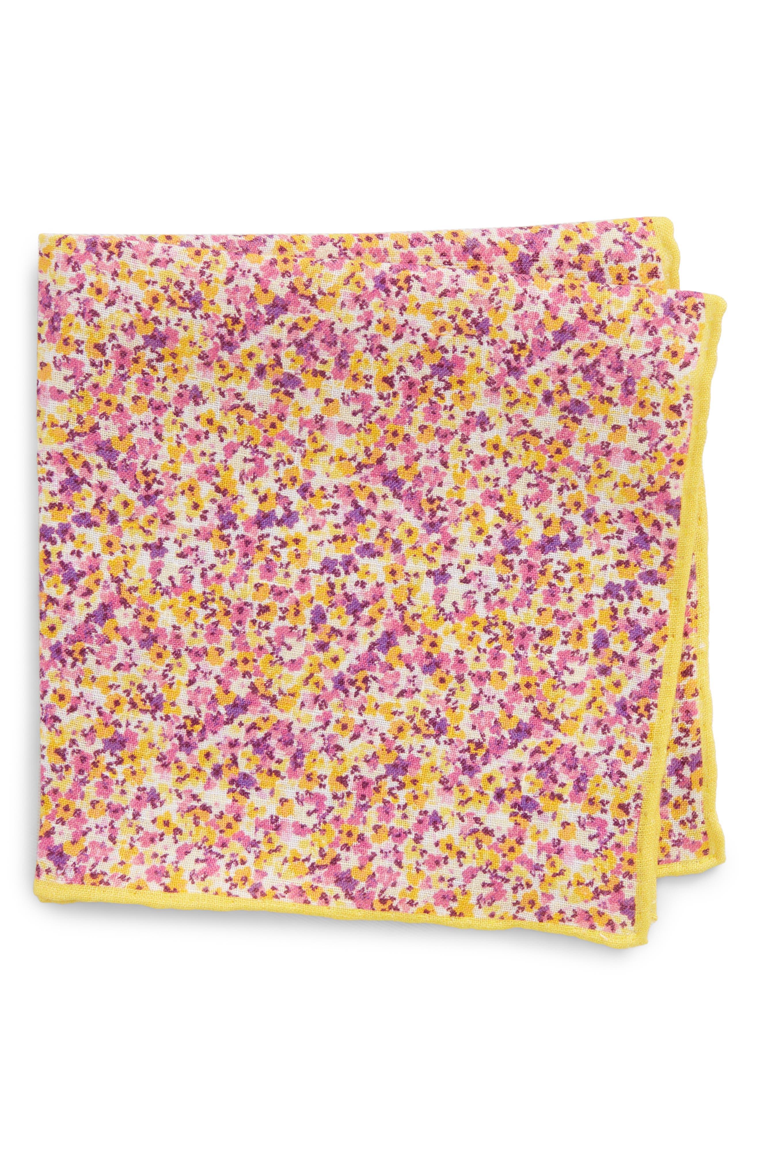 Walden Floral Linen Pocket Square,                             Main thumbnail 2, color,
