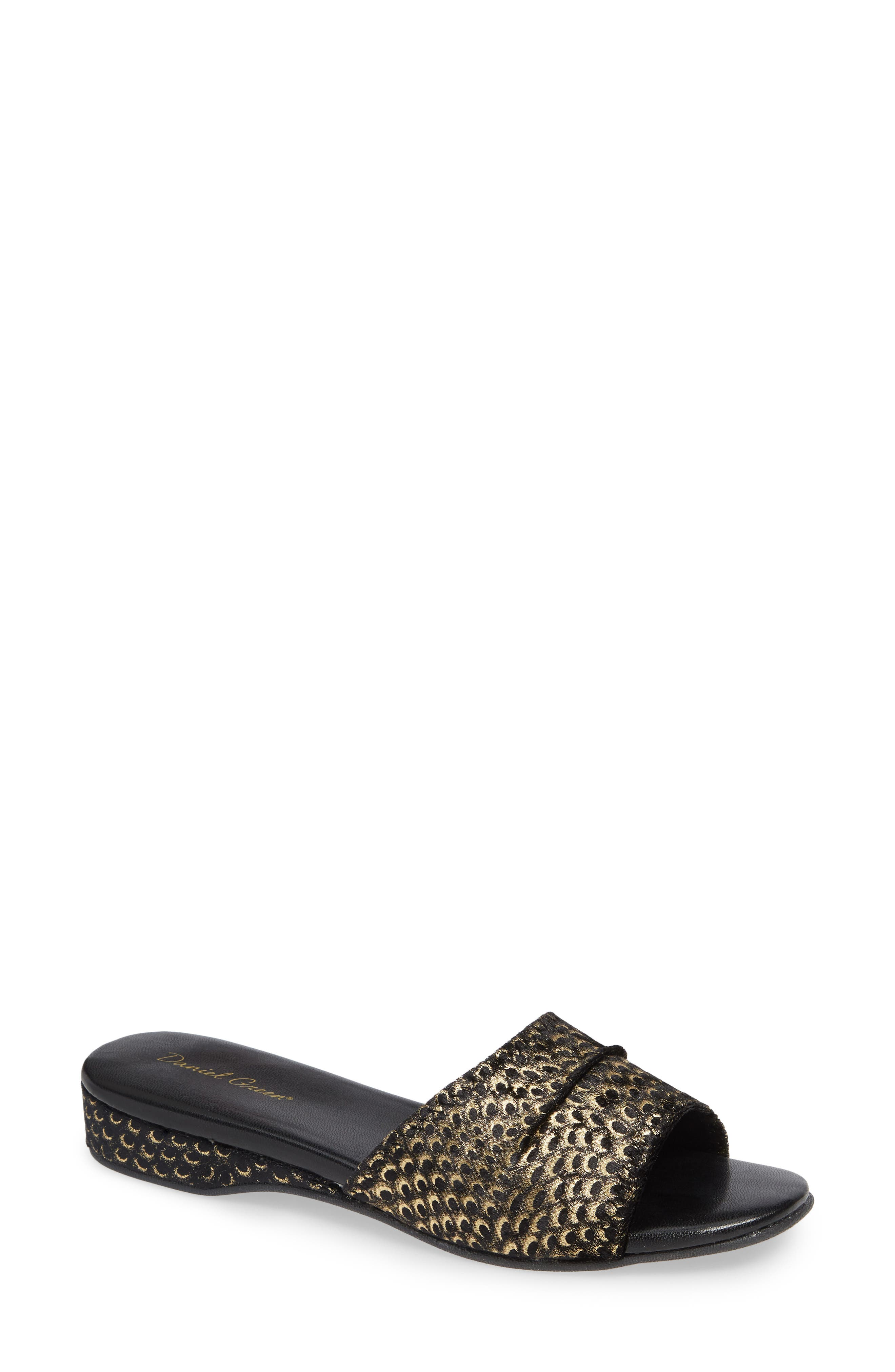'Dormie' Slipper,                             Main thumbnail 1, color,                             BLACK/ GOLD FABRIC
