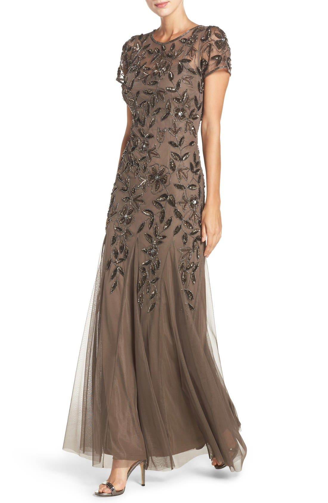 Floral Beaded Trumpet Gown,                             Alternate thumbnail 27, color,