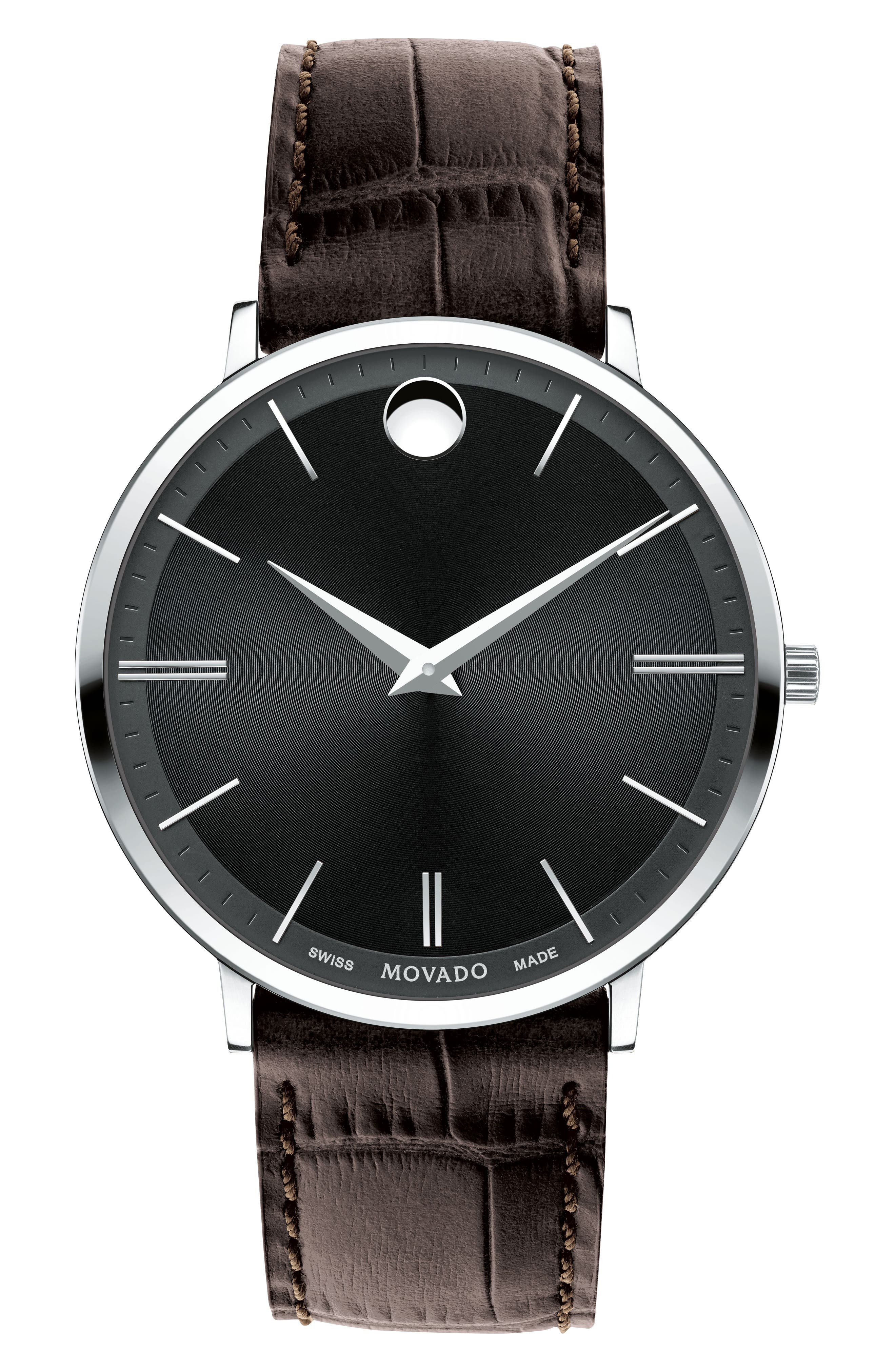 Ultra Slim Leather Strap Watch, 40mm,                             Main thumbnail 2, color,