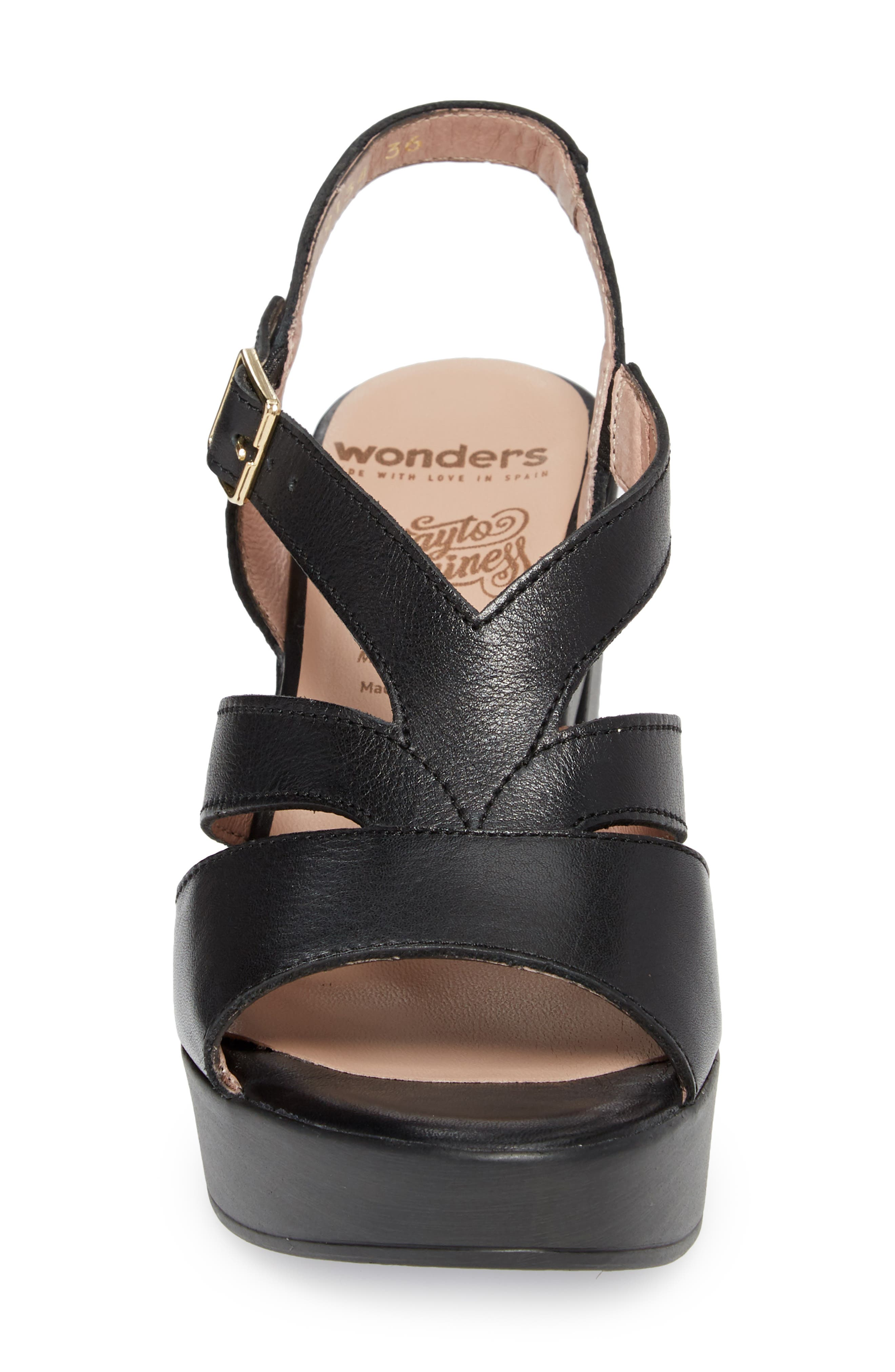 V-Strap Platform Sandal,                             Alternate thumbnail 4, color,                             BLACK LEATHER