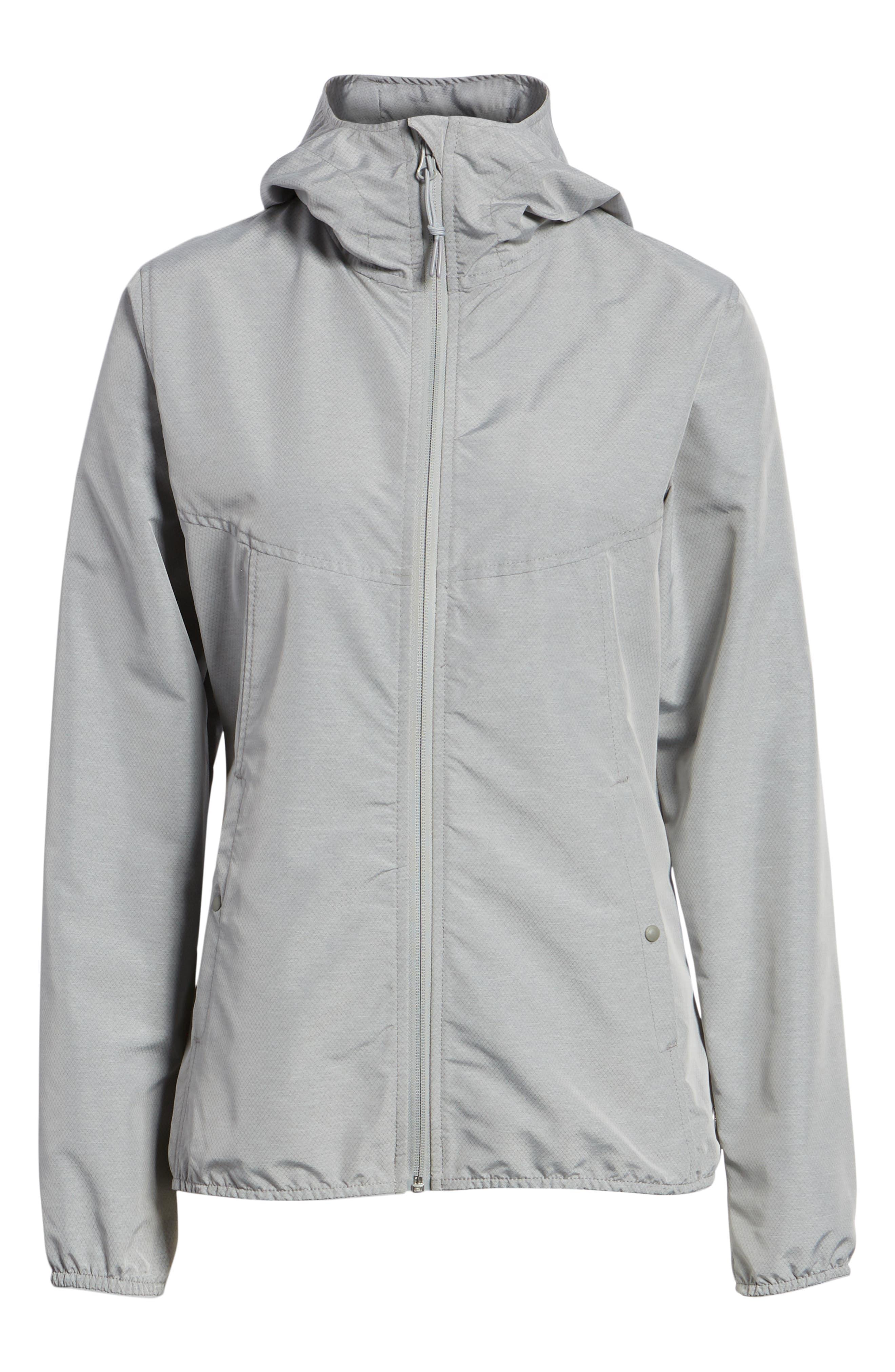 oyage Wind Hooded Jacket,                             Alternate thumbnail 6, color,                             LIGHT GREY CROSSHATCH