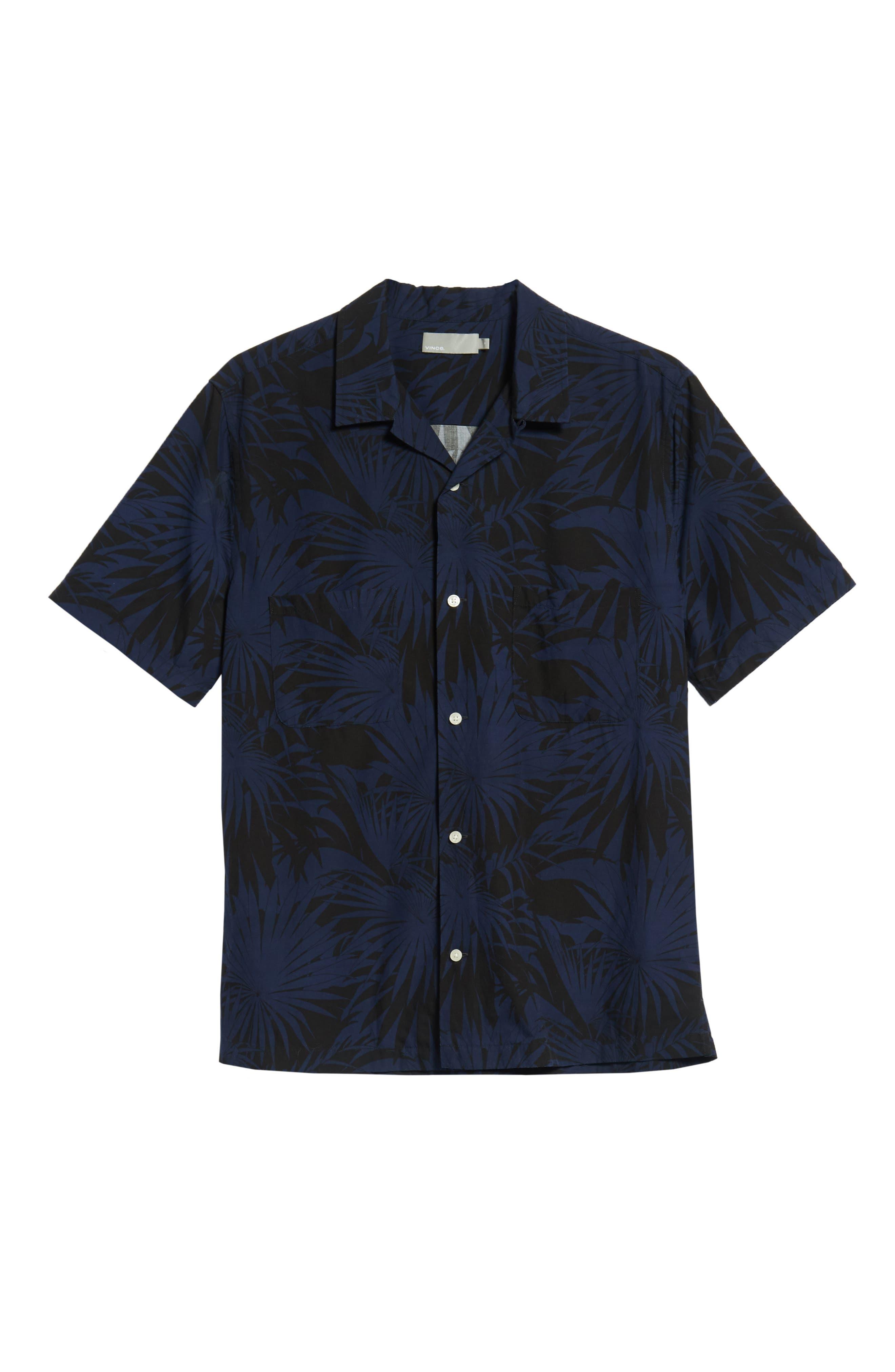 Palm Leaf Cabana Woven Shirt,                             Alternate thumbnail 5, color,                             001