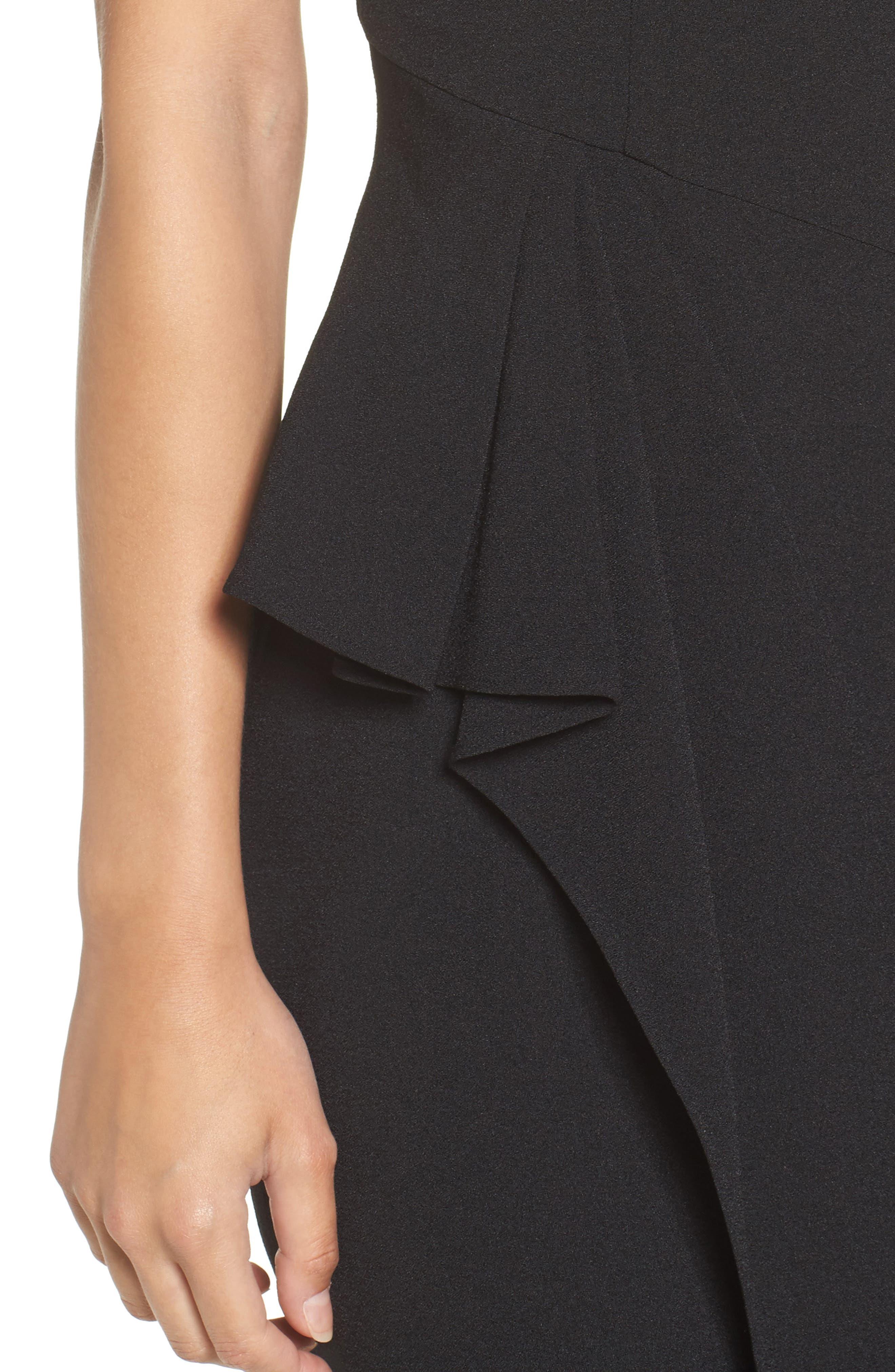 Embellished Ruffle Sheath Dress,                             Alternate thumbnail 4, color,                             001