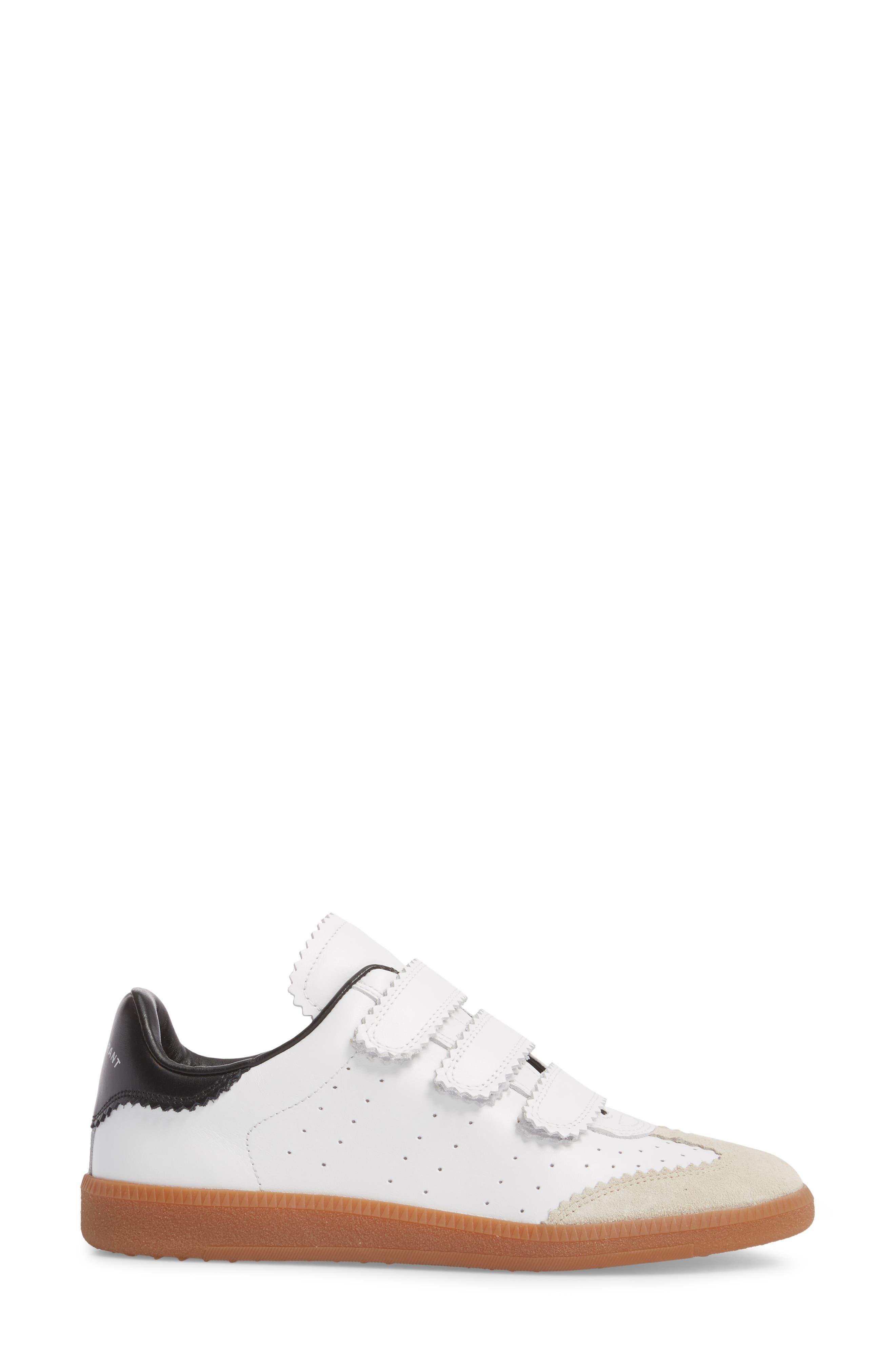 Isabel Marant Beth Low Top Sneaker,                             Alternate thumbnail 3, color,                             WHITE