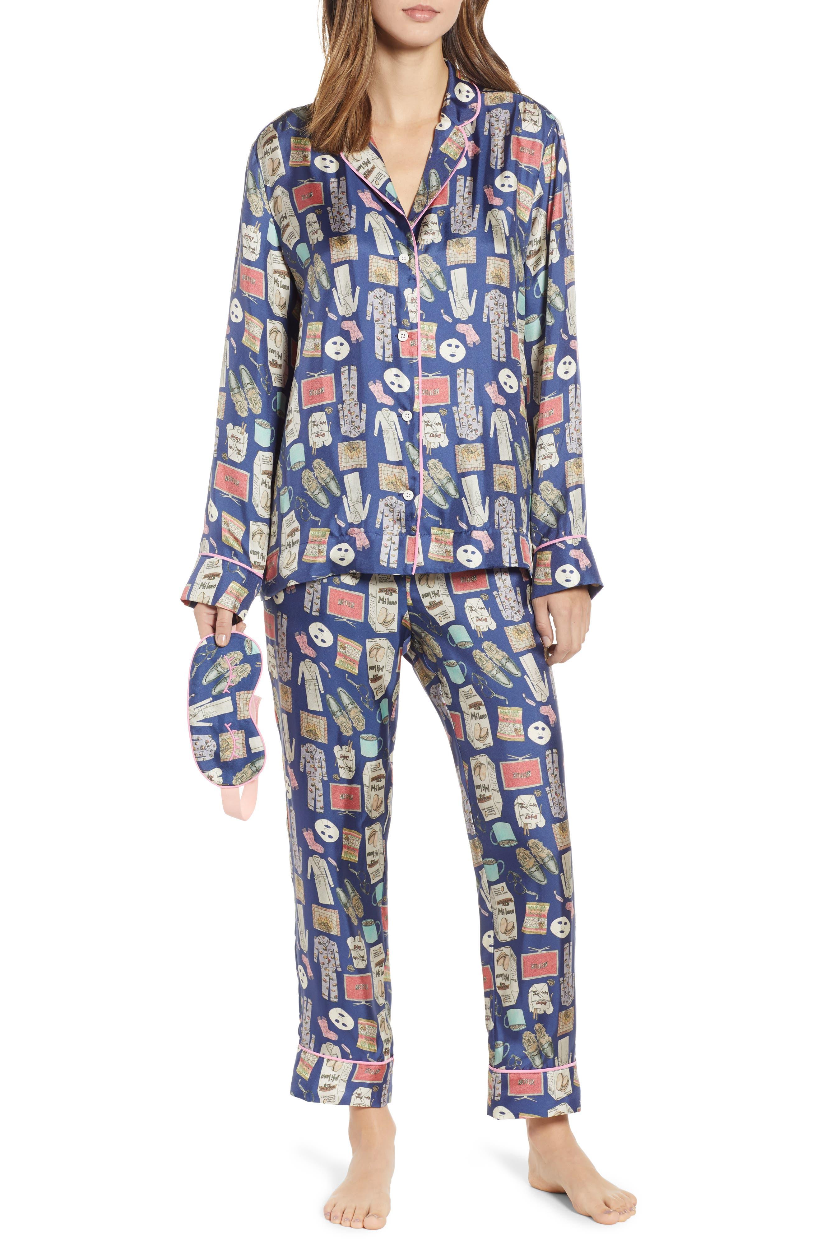 Netflix & Chill Silk Blend Pajamas & Eye Mask,                             Main thumbnail 1, color,                             BLUE