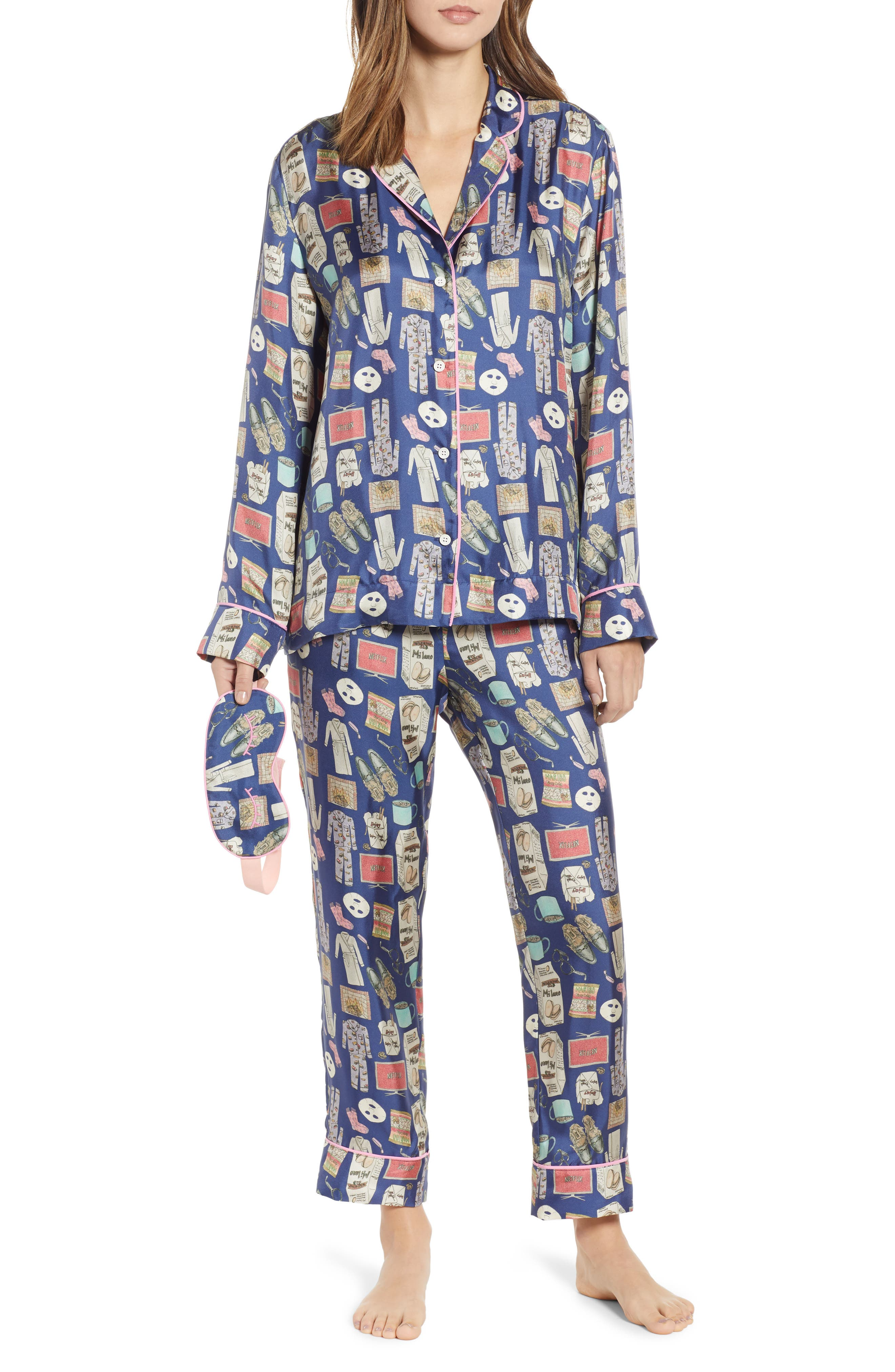 Netflix & Chill Silk Blend Pajamas & Eye Mask,                         Main,                         color, BLUE