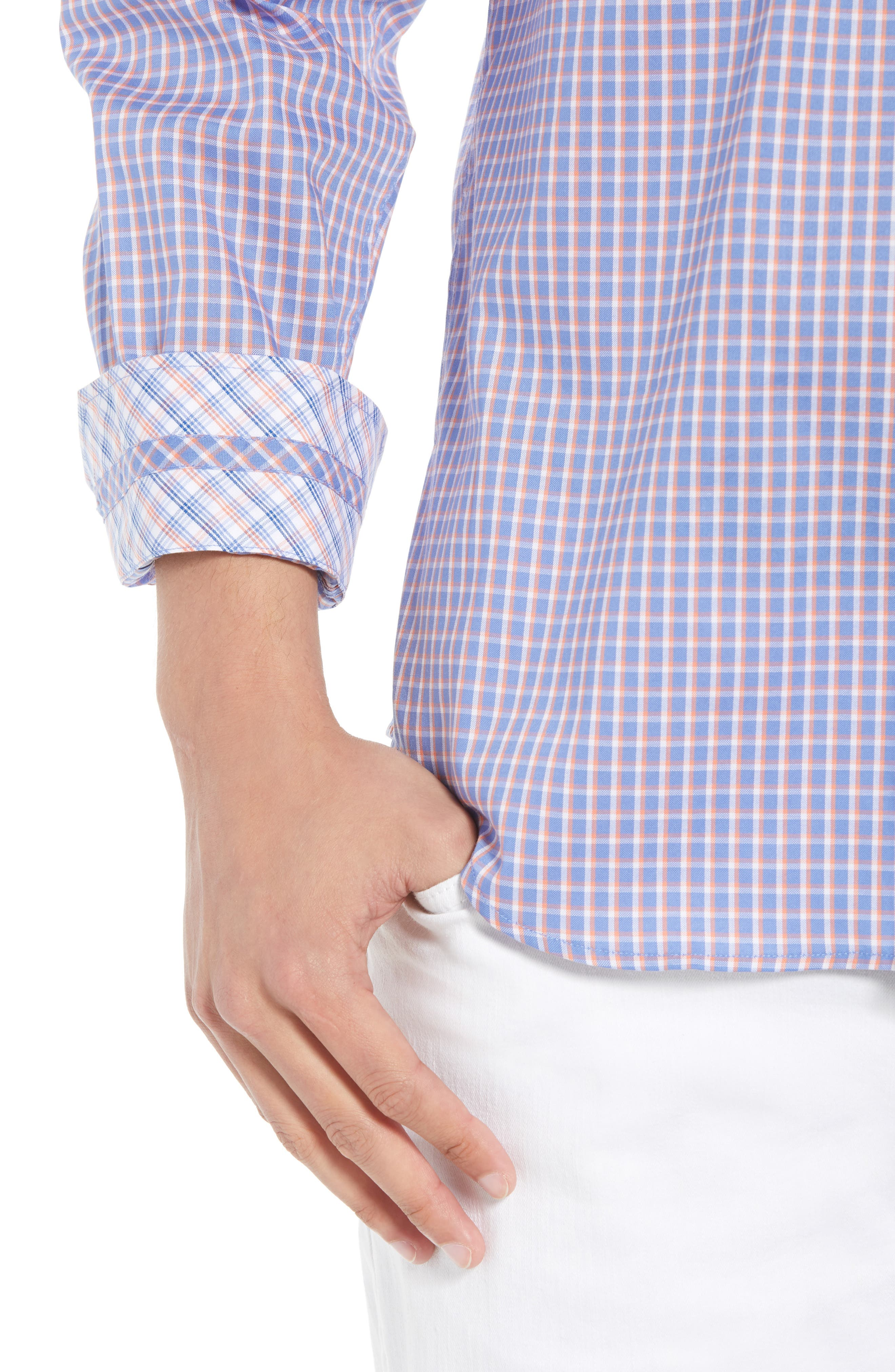 Bader Regular Fit Check Sport Shirt,                             Alternate thumbnail 4, color,                             400