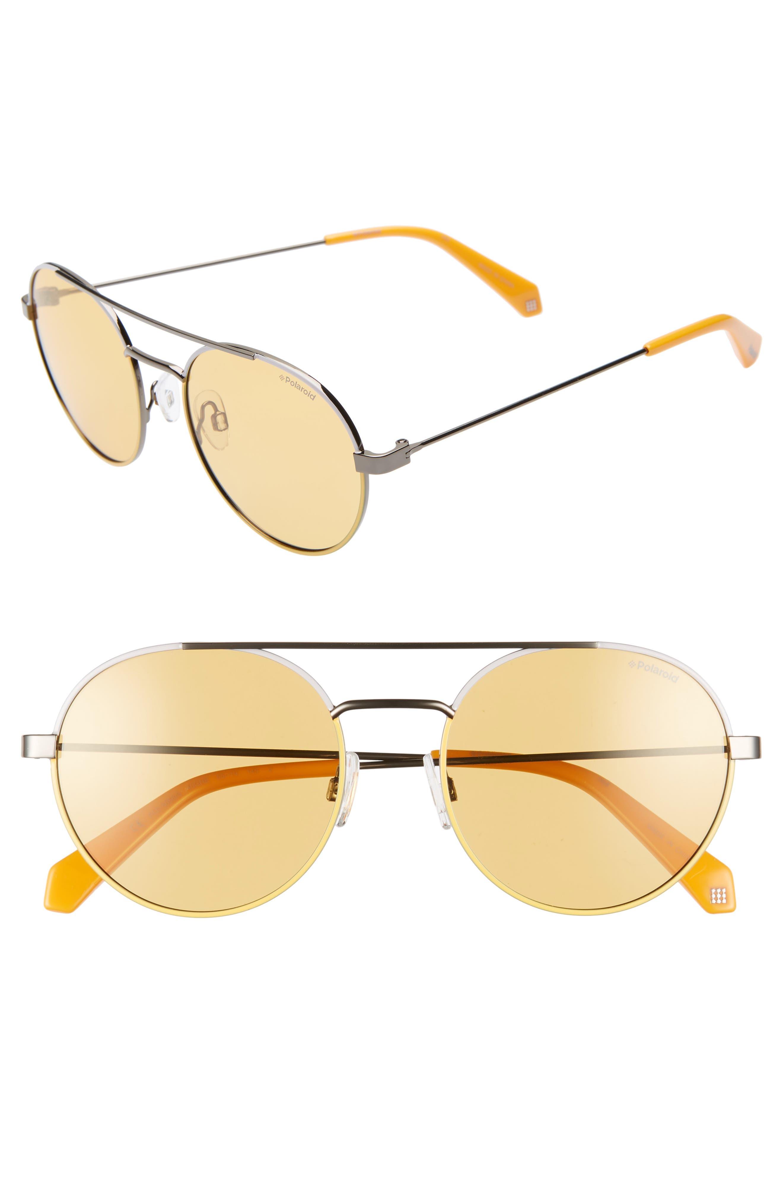 Polaroid 55Mm Polarized Round Aviator Sunglasses - Yellow/ Silver