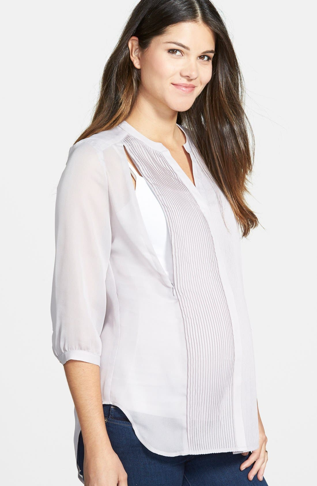 'Audrey' Maternity/Nursing Tuxedo Blouse,                             Alternate thumbnail 2, color,                             GREY