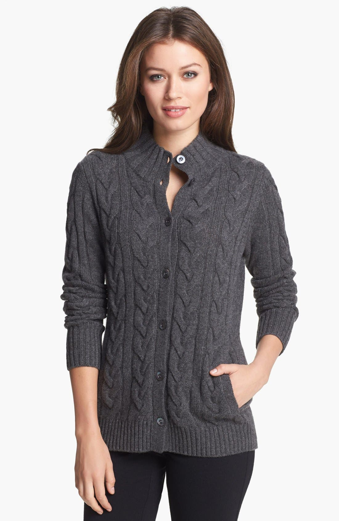 Chunky Cable Cashmere Cardigan,                         Main,                         color, 020