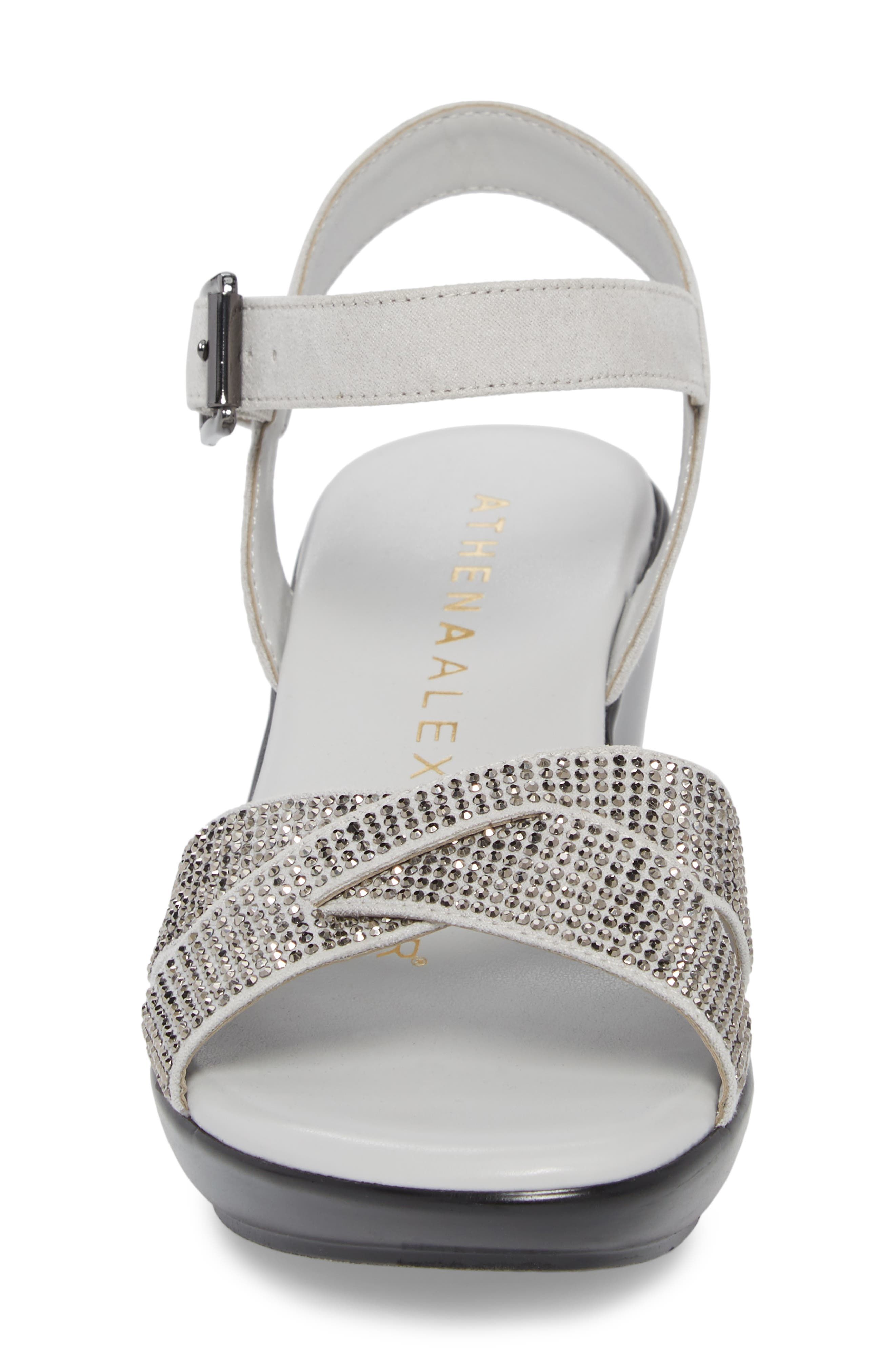 Florence Wedge Sandal,                             Alternate thumbnail 4, color,                             GREY FAUX SUEDE