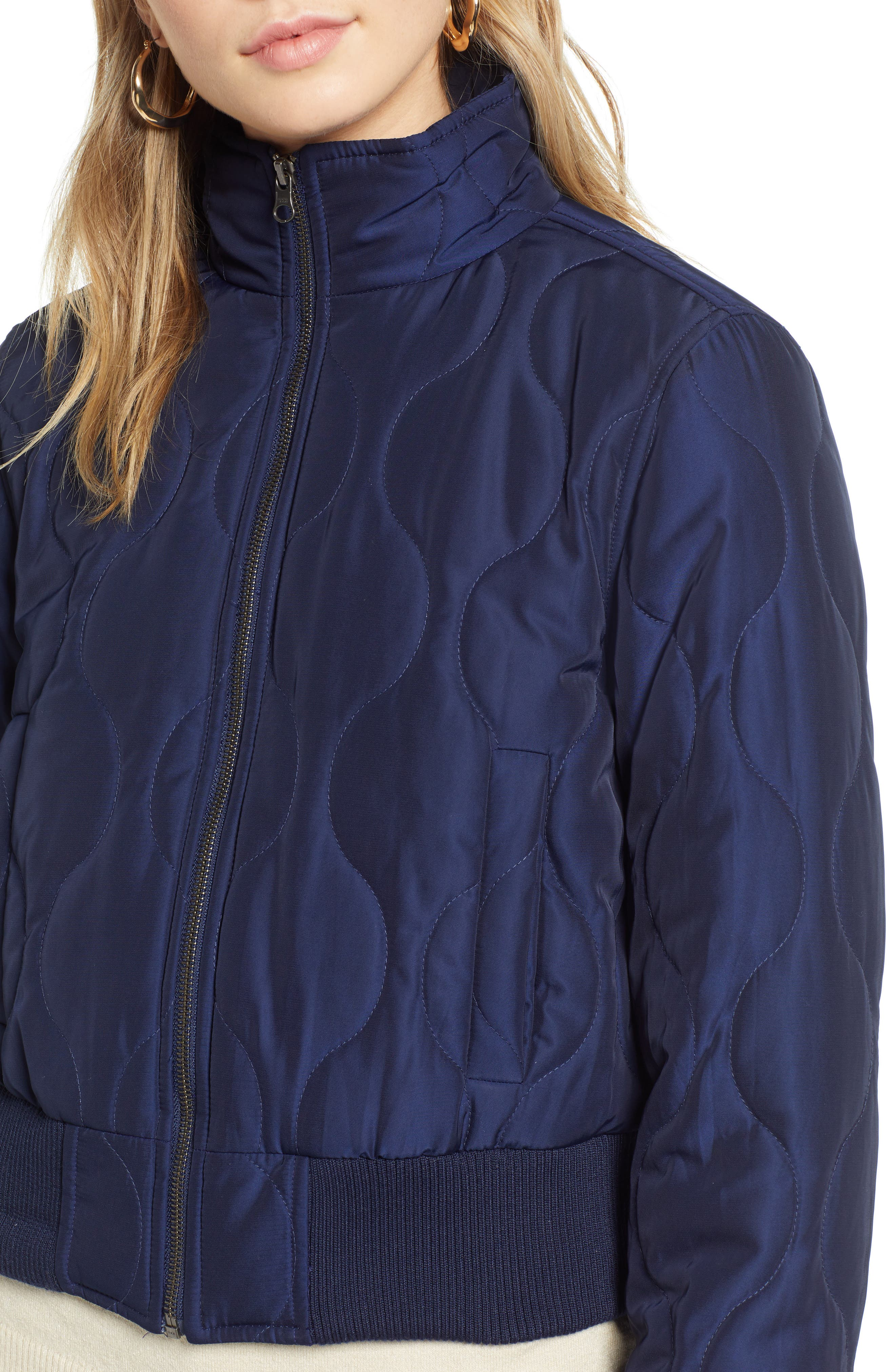 Satin Crop Puffer Jacket,                             Alternate thumbnail 4, color,                             NAVY MARITIME
