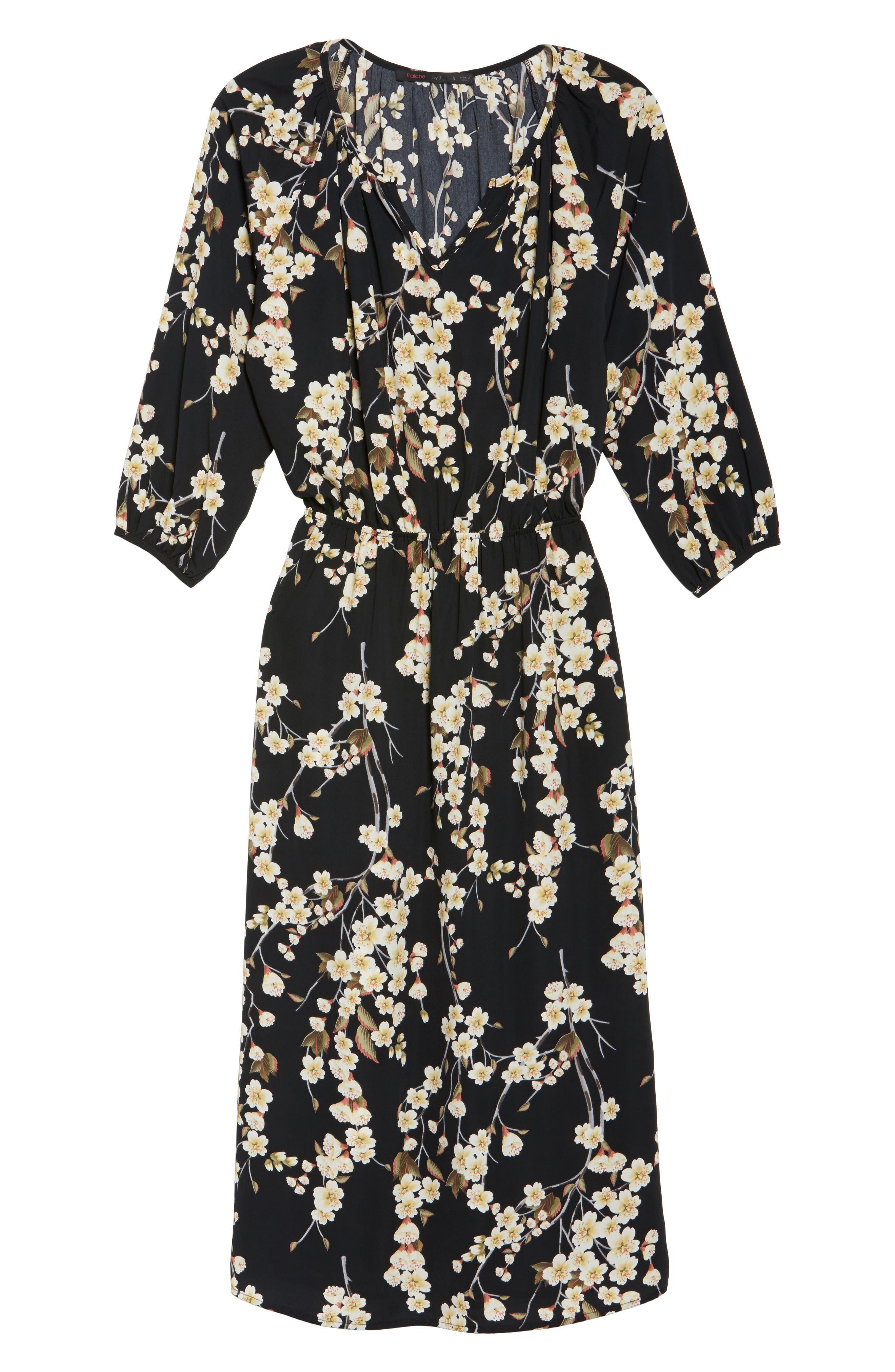 Floral Blouson Dress,                             Alternate thumbnail 6, color,                             002