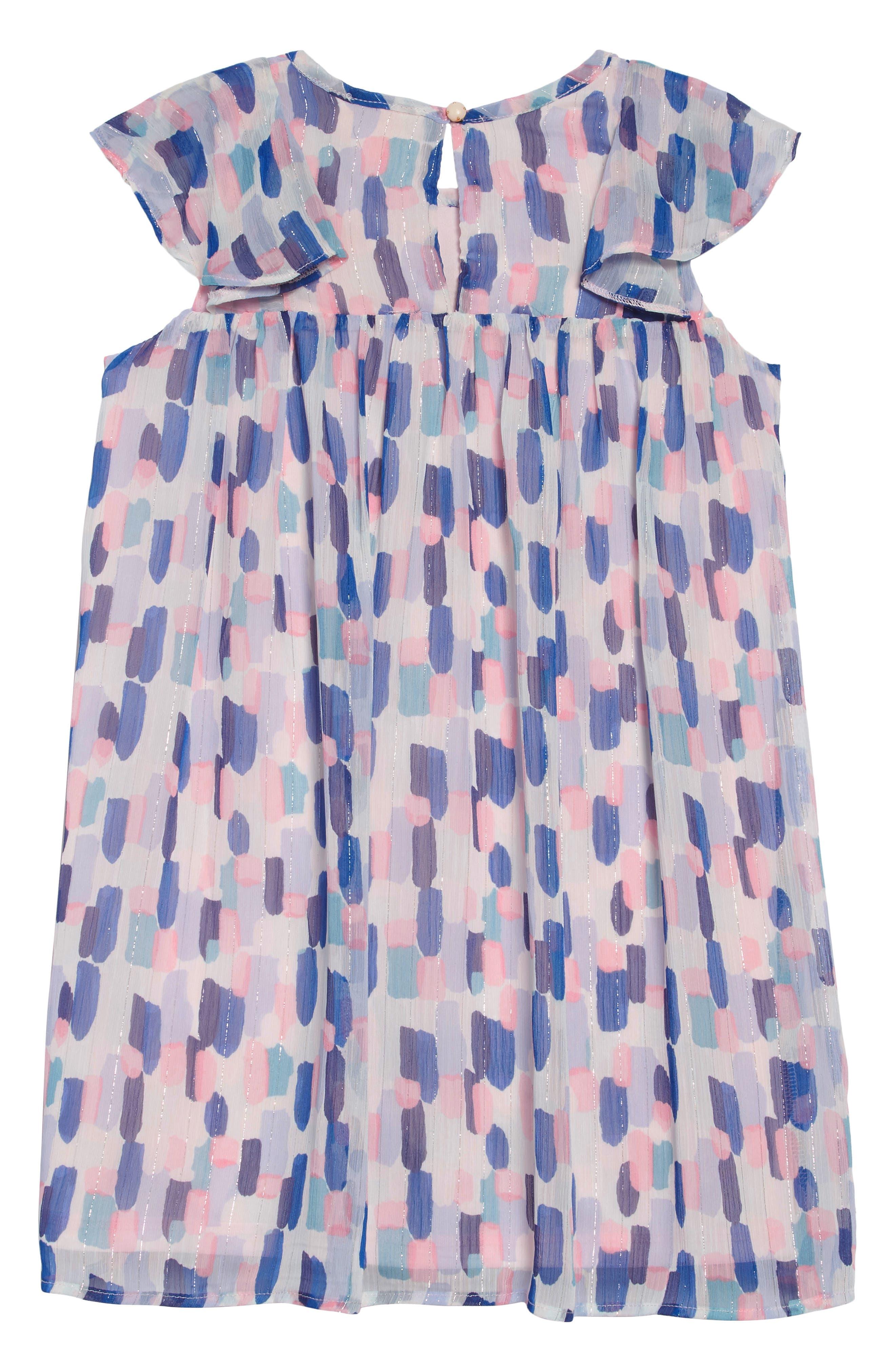 brush strokes ruffle dress,                             Alternate thumbnail 2, color,                             BRUSH STROKES