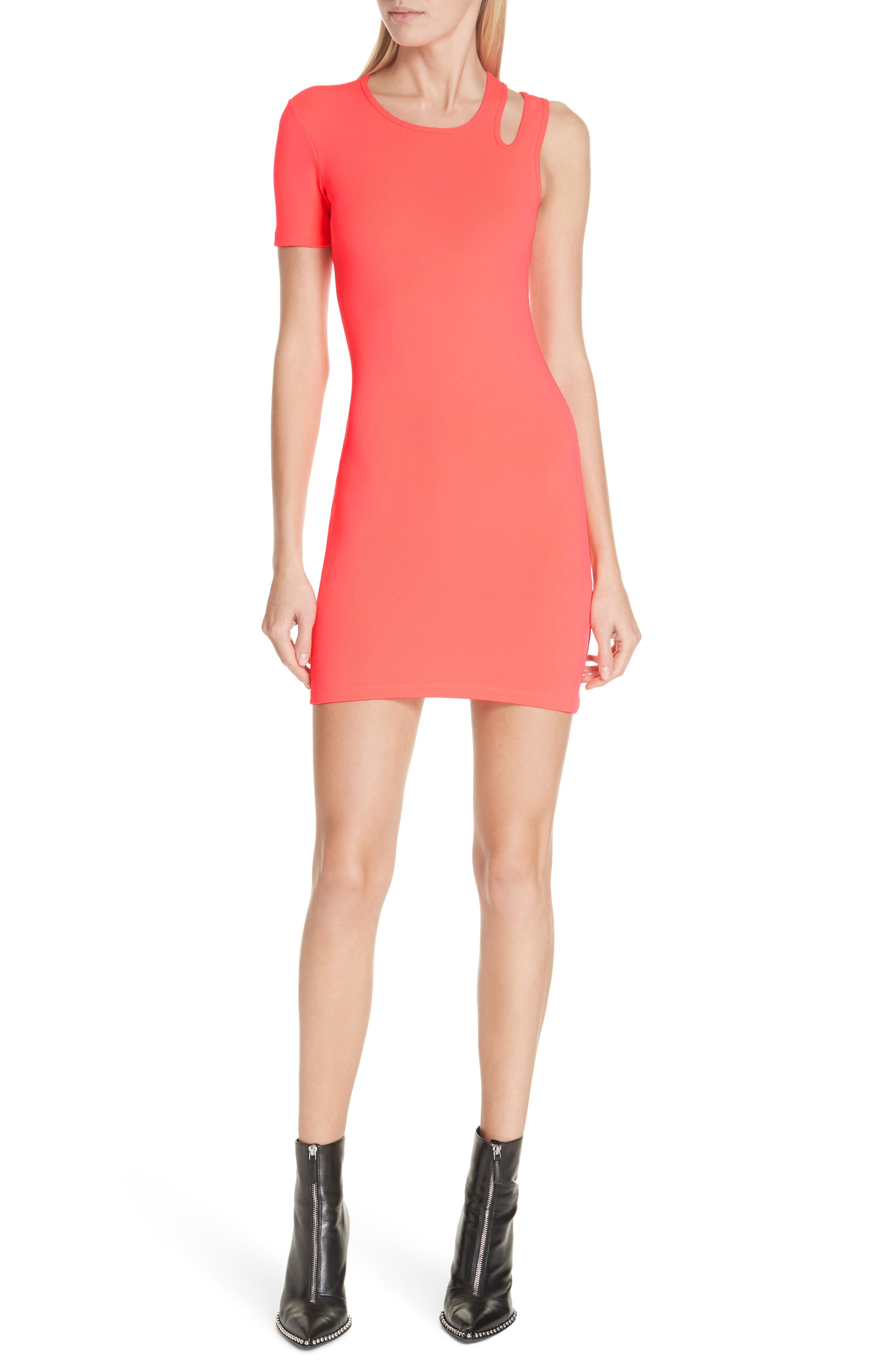 Alexanderwang.t Asymmetrical Ribbed Body-Con Dress, Pink