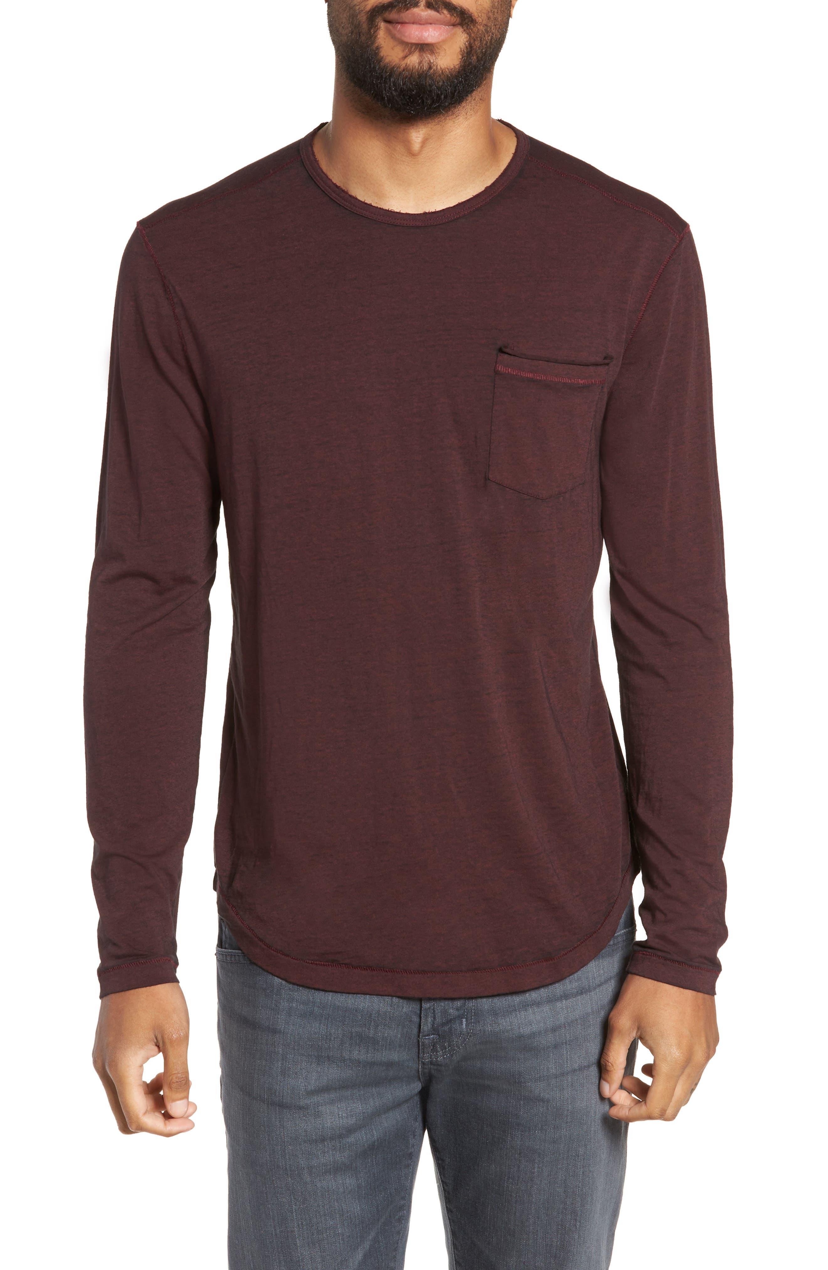 Burnout Long Sleeve T-Shirt,                         Main,                         color, BORDEAUX