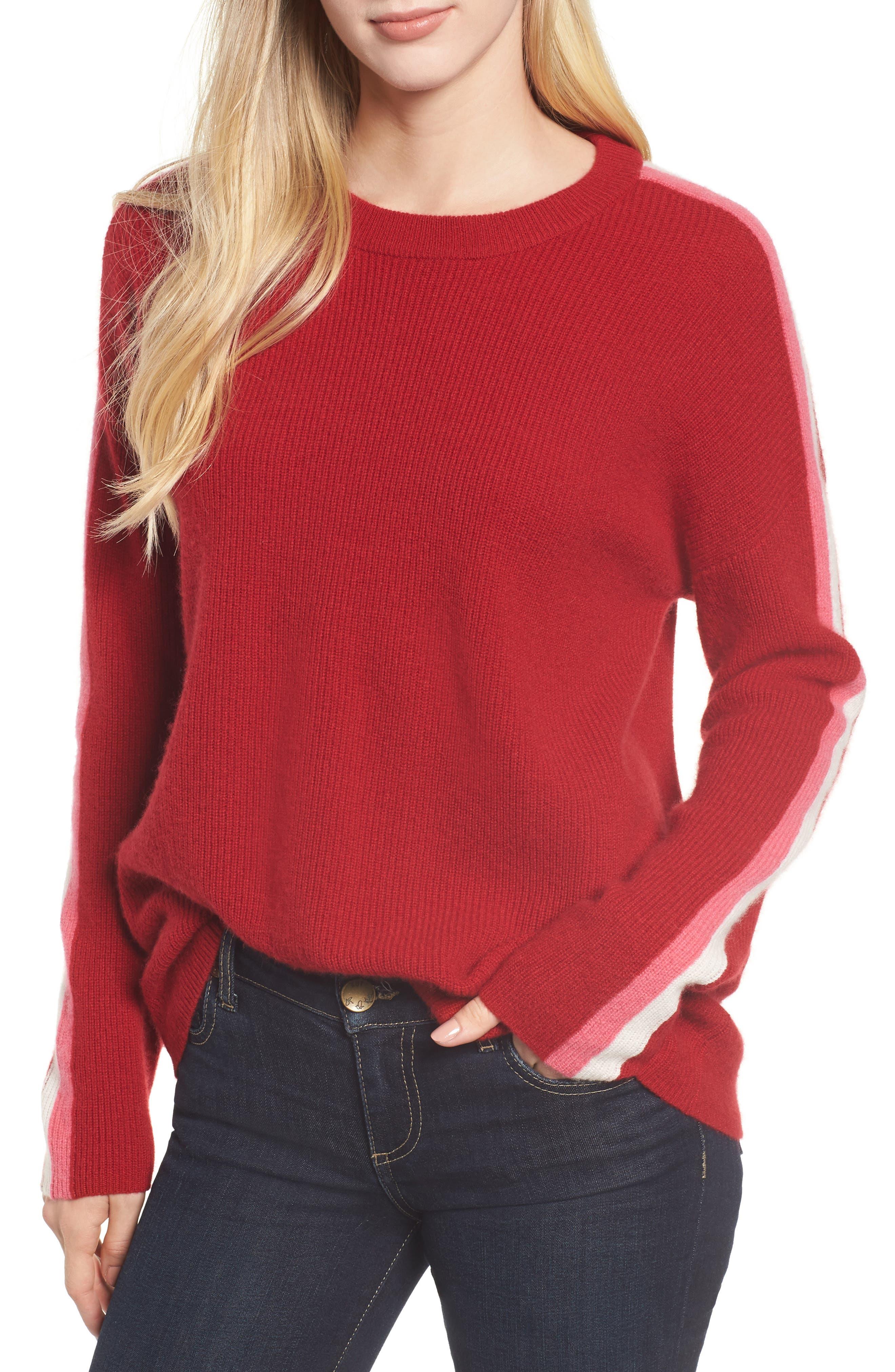 Velvet By Graham & Spencer Stripe Sleeve Cashmere Sweater, Red