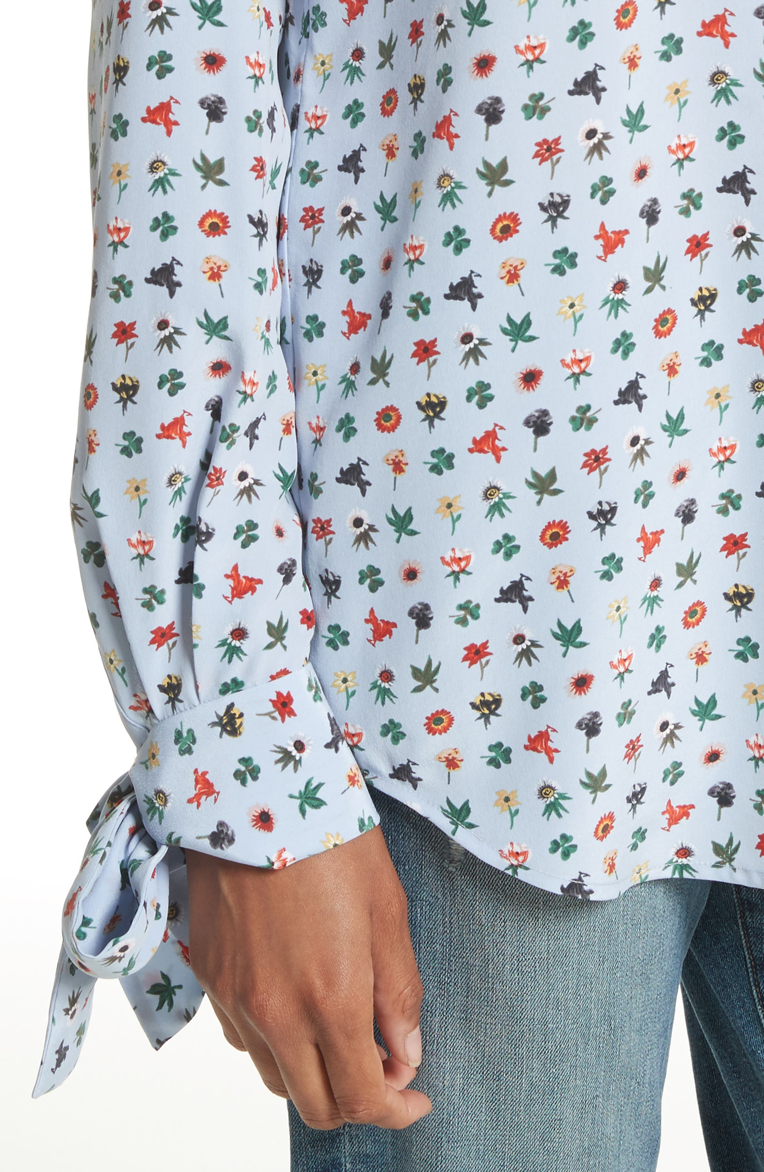 Aurora Tie Sleeve Floral Silk Blouse,                             Alternate thumbnail 8, color,