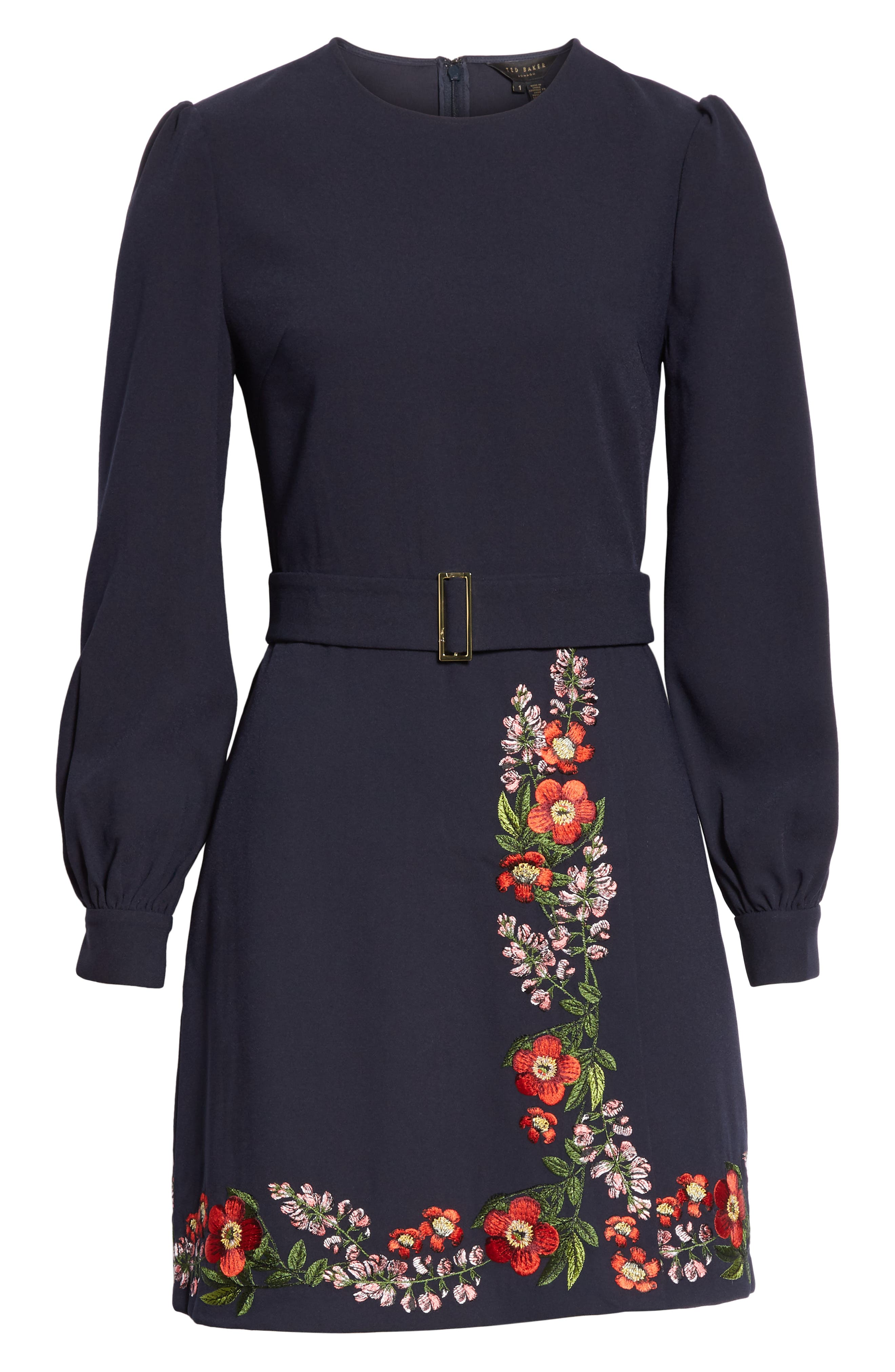 Silia Kirstenbosch Embroidered Dress,                             Alternate thumbnail 6, color,                             DARK BLUE