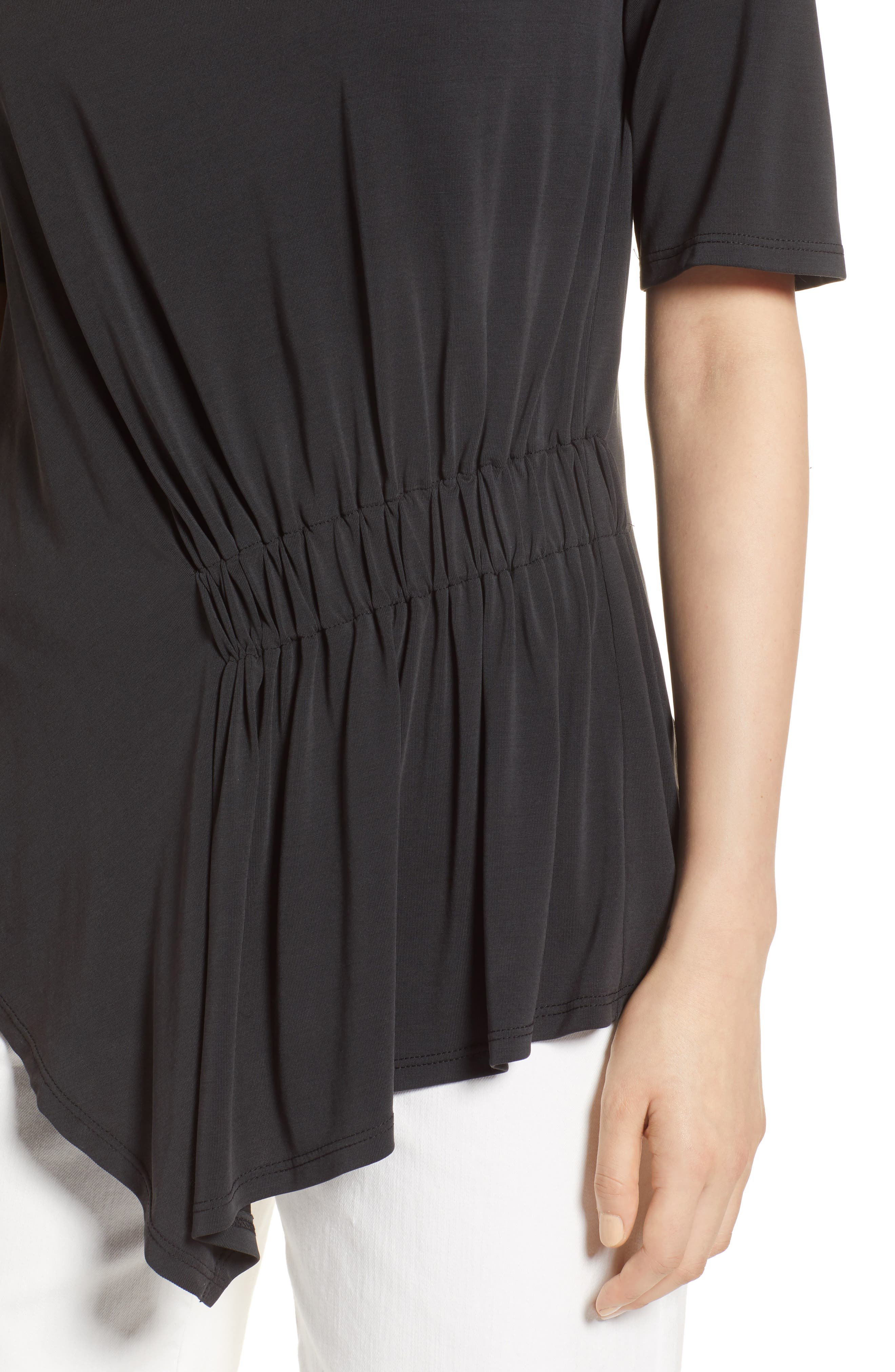 Ruched Waist Tee,                             Alternate thumbnail 4, color,                             001