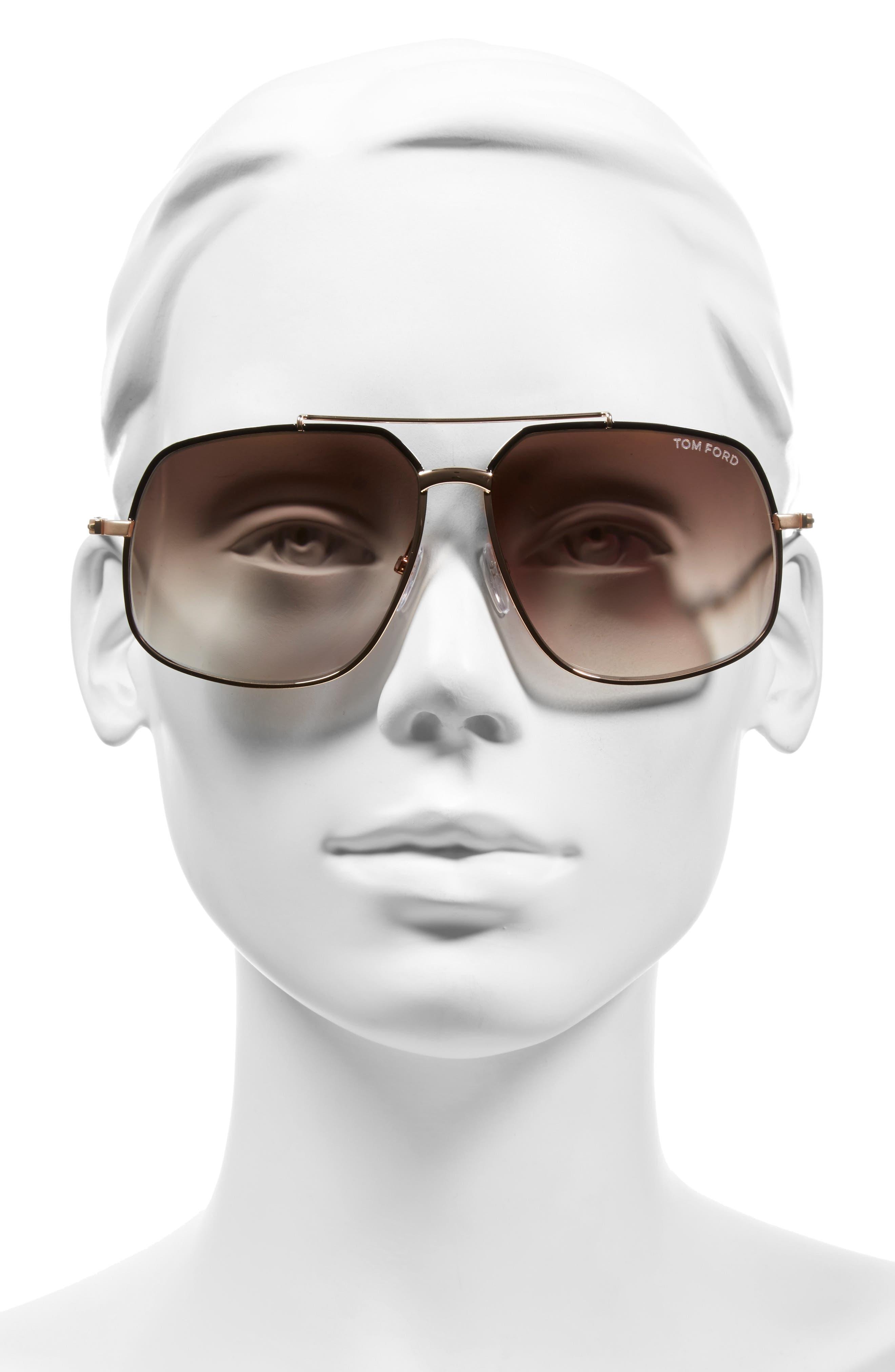 'Ronnie' 60mm Aviator Sunglasses,                             Alternate thumbnail 4, color,                             001