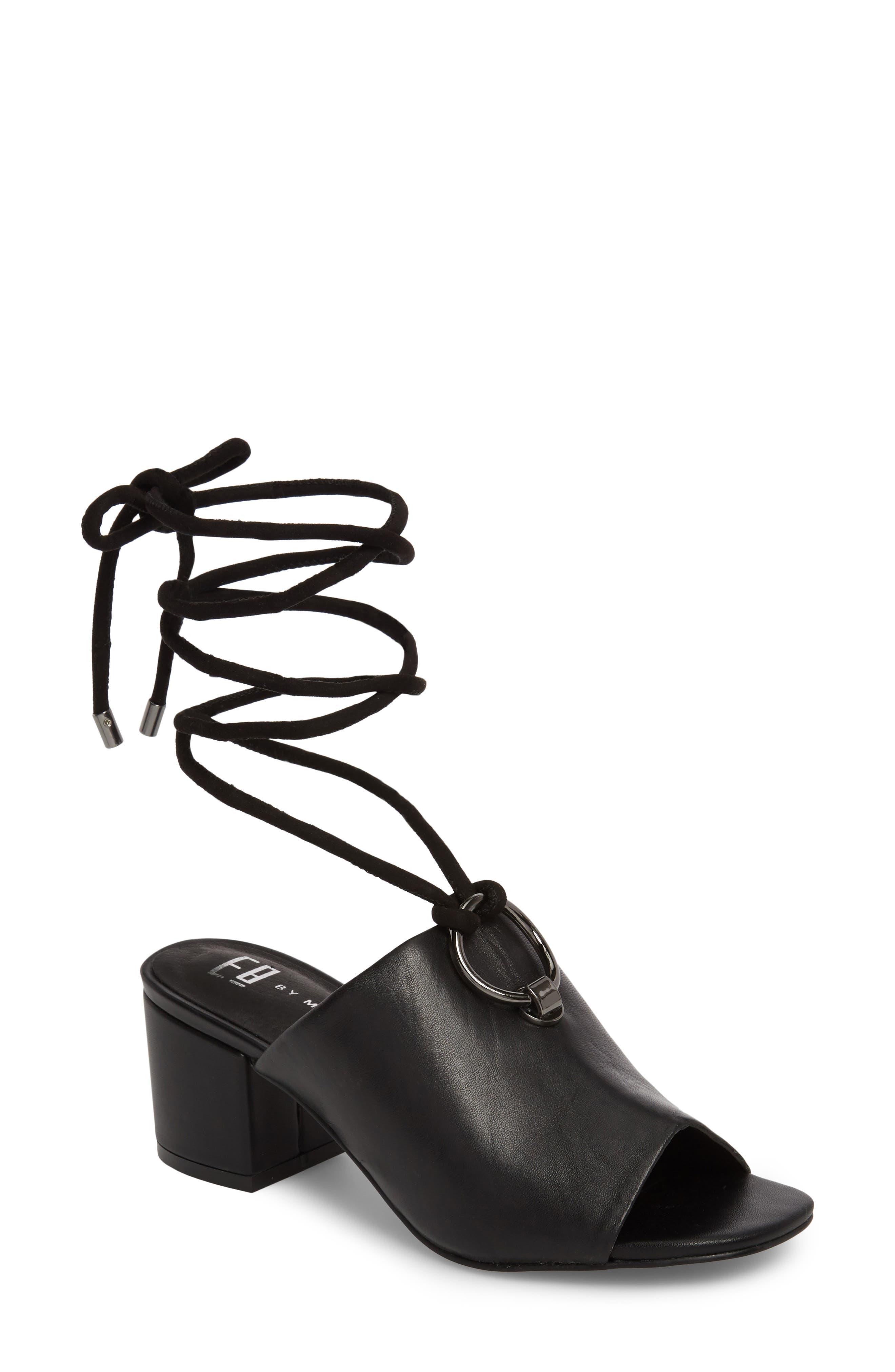 Mason Ankle Tie Sandal,                         Main,                         color, BLACK LEATHER