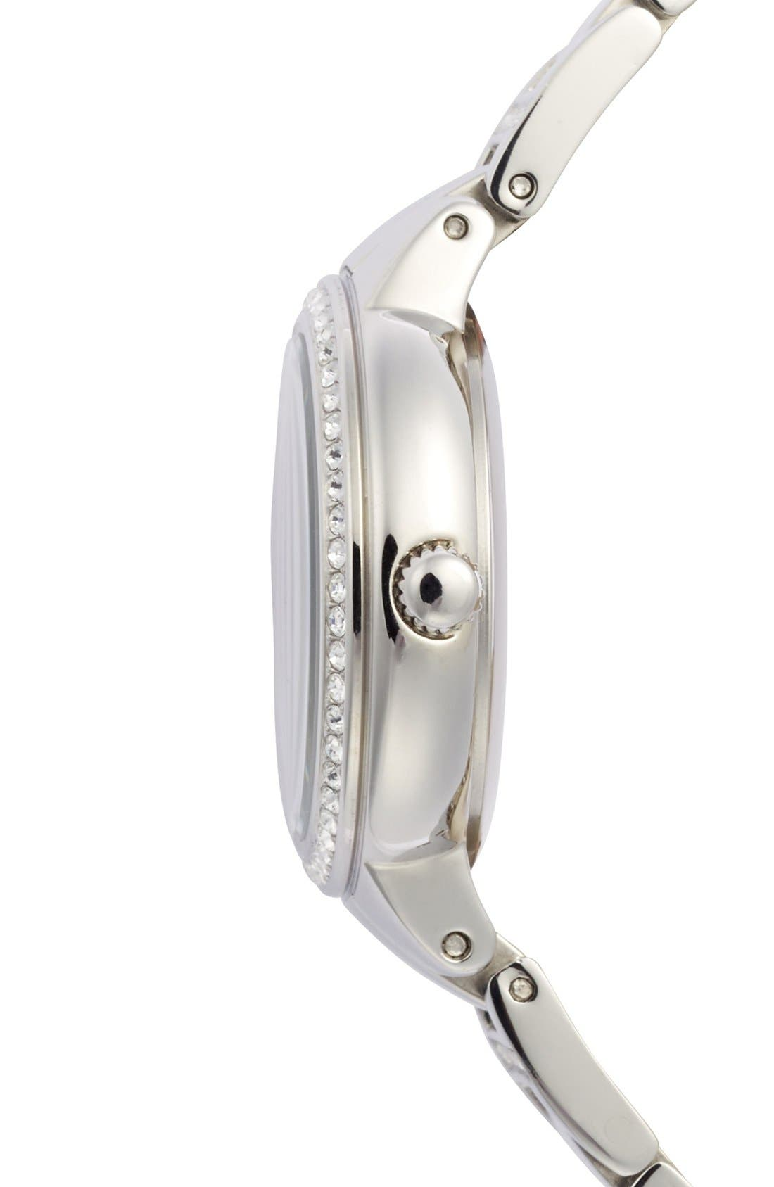'Virginia' Crystal Accent Bracelet Watch, 30mm,                             Alternate thumbnail 3, color,                             SILVER