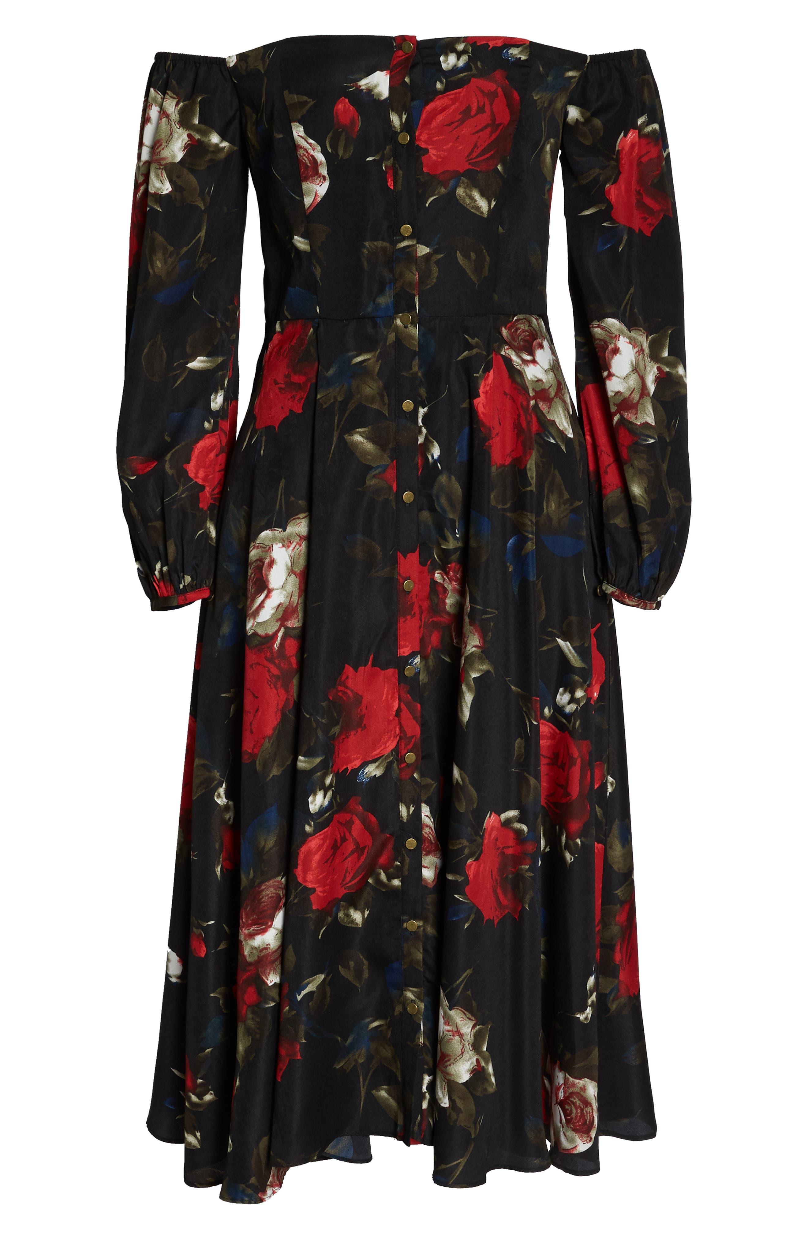 Off the Shoulder Midi Dress,                             Alternate thumbnail 8, color,                             BLACK LUSH ROSE FLORAL