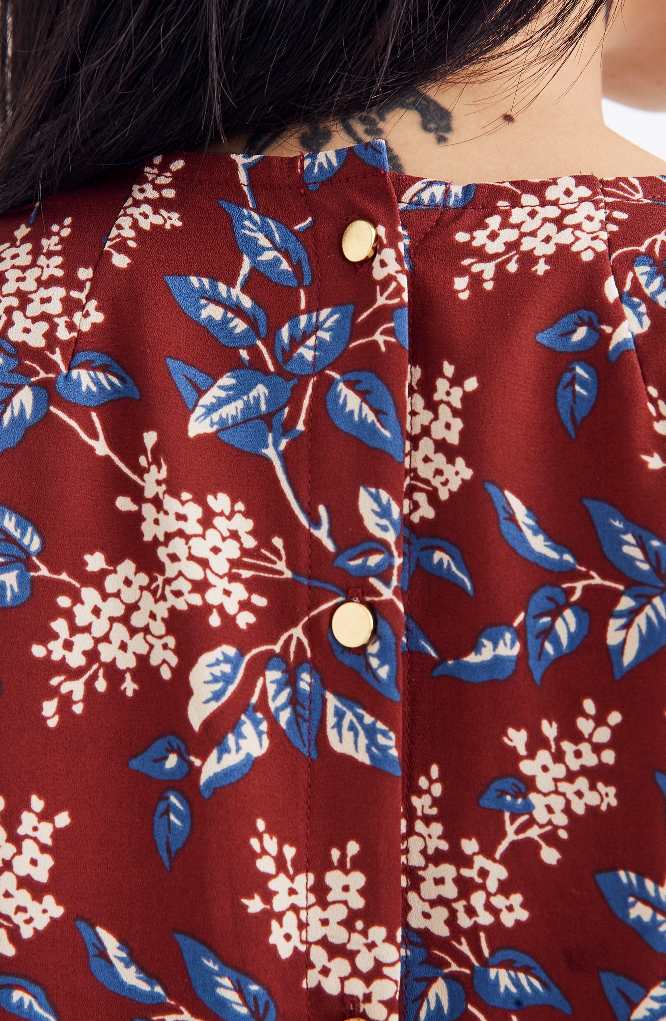 Antique Flora Button Back Dress,                             Alternate thumbnail 4, color,                             DUSTY BURGUNDY